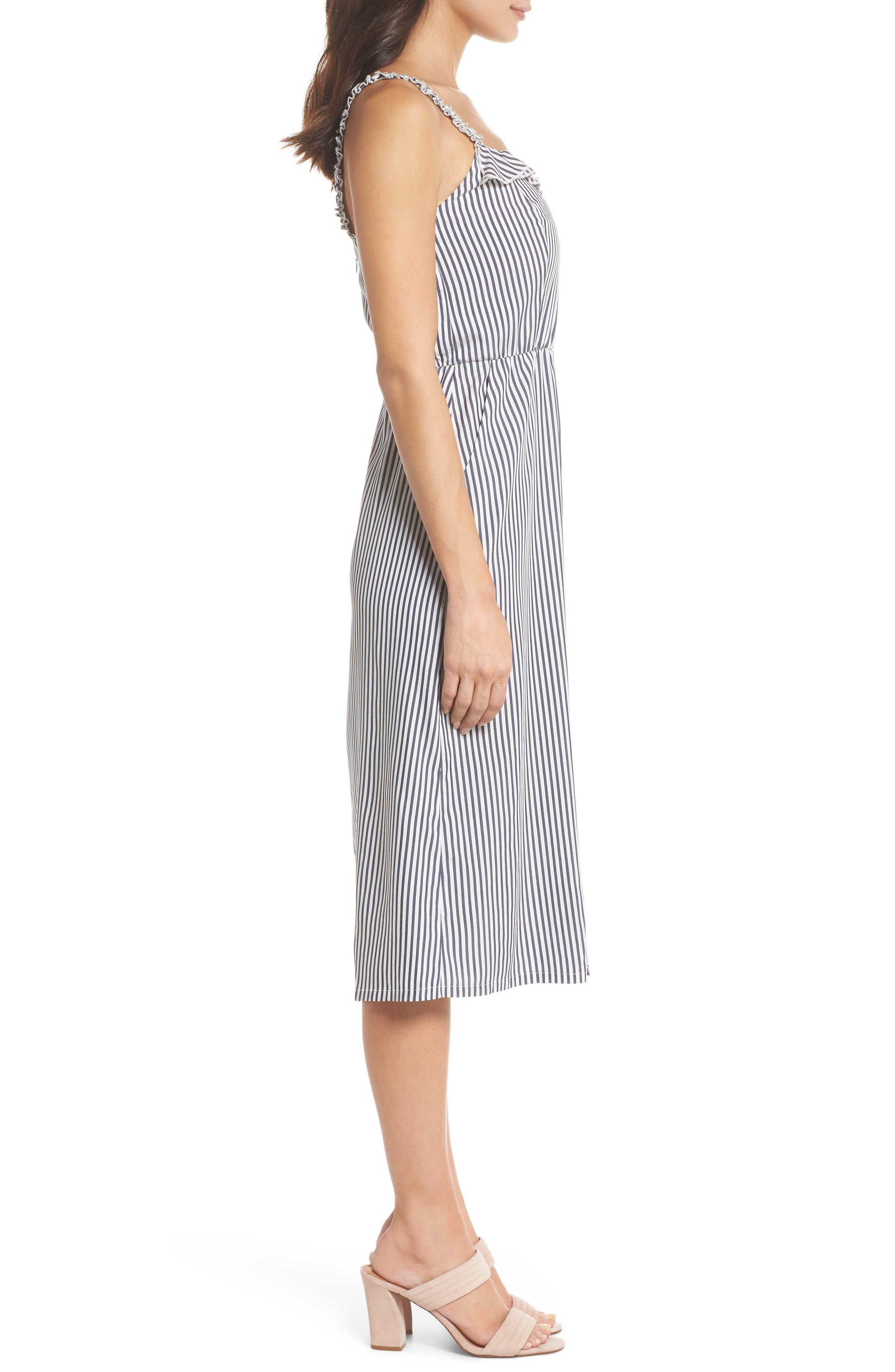Drinks On Me Stripe Ruffle Midi Dress,                             Alternate thumbnail 3, color,                             Navy/ White Mini Stripe