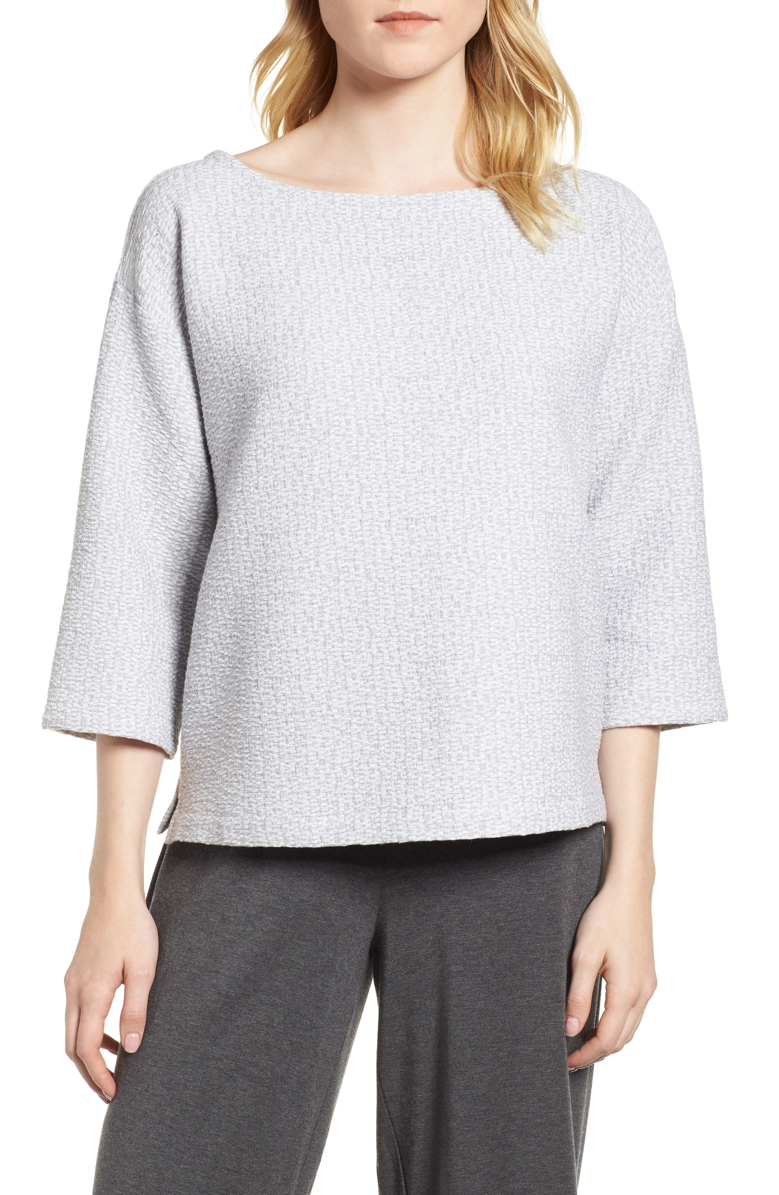 Main Image - Eileen Fisher Bateau Neck Box Top