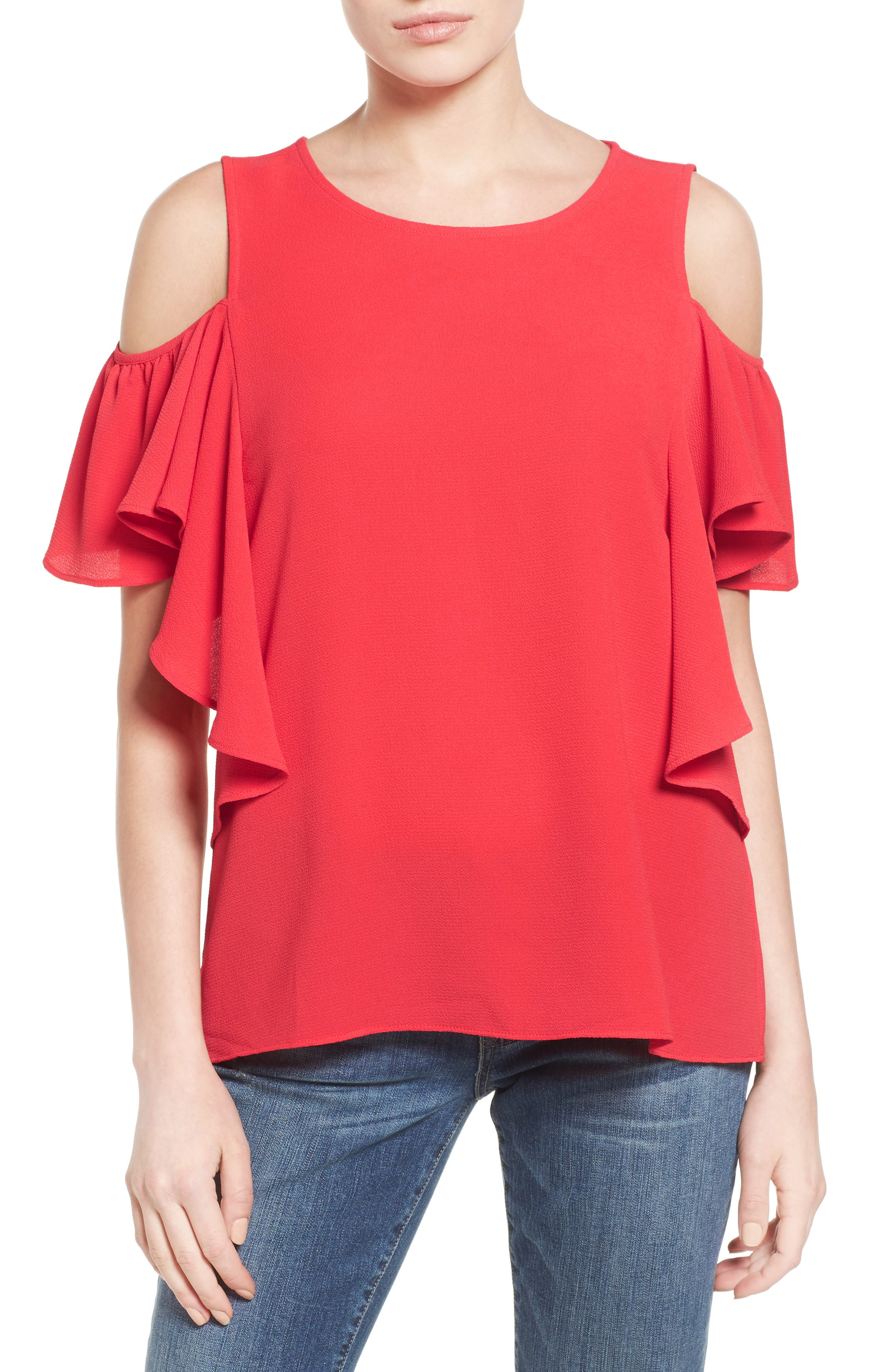 Cold Shoulder Ruffle Sleeve Top,                             Main thumbnail 1, color,                             Red Saucy