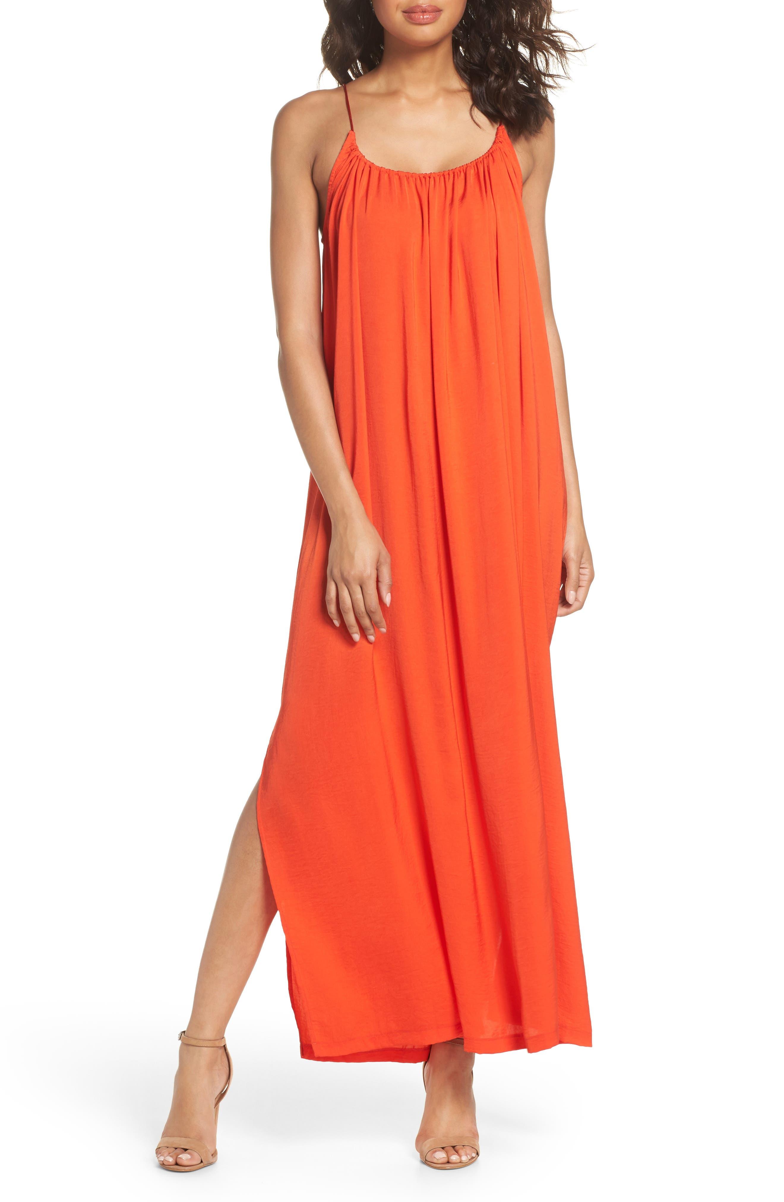Yvonne Maxi Dress,                         Main,                         color, Blood Orange