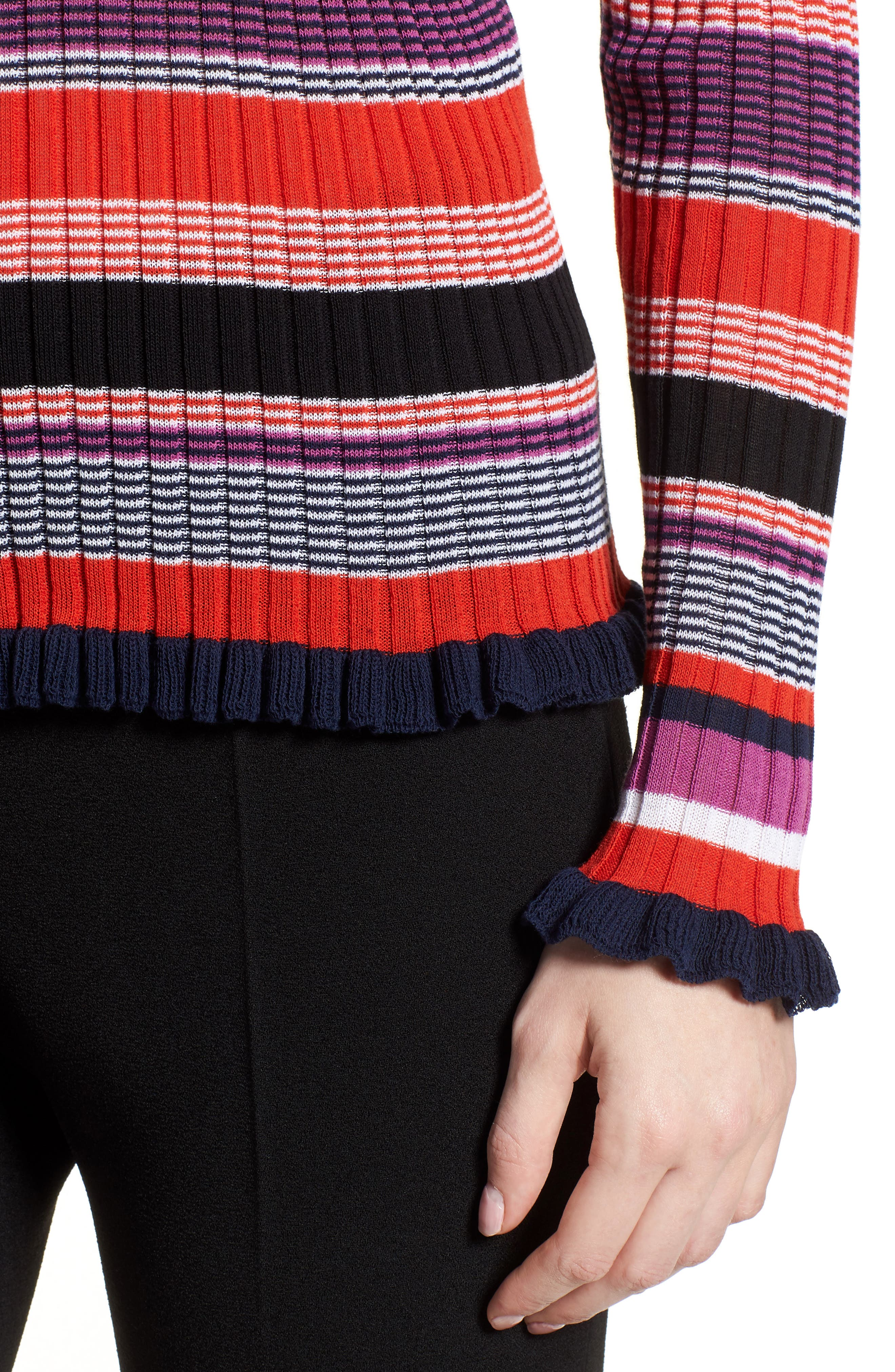 Fallegria Stripe Sweater,                             Alternate thumbnail 4, color,                             Black Fantasy