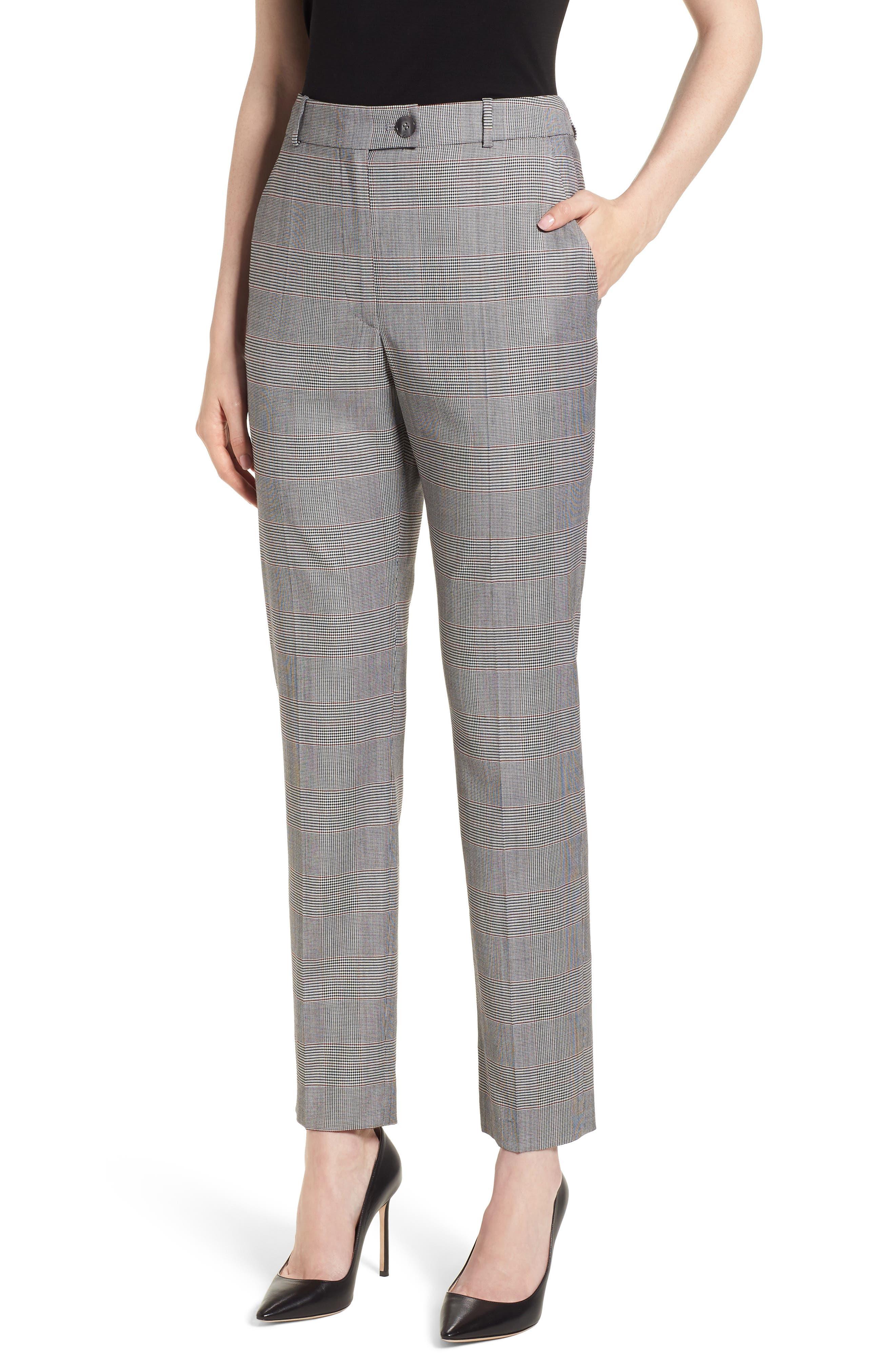 Tofilia Glencheck Slim Fit Trousers,                         Main,                         color, Dark Sunset Orange Fantasy
