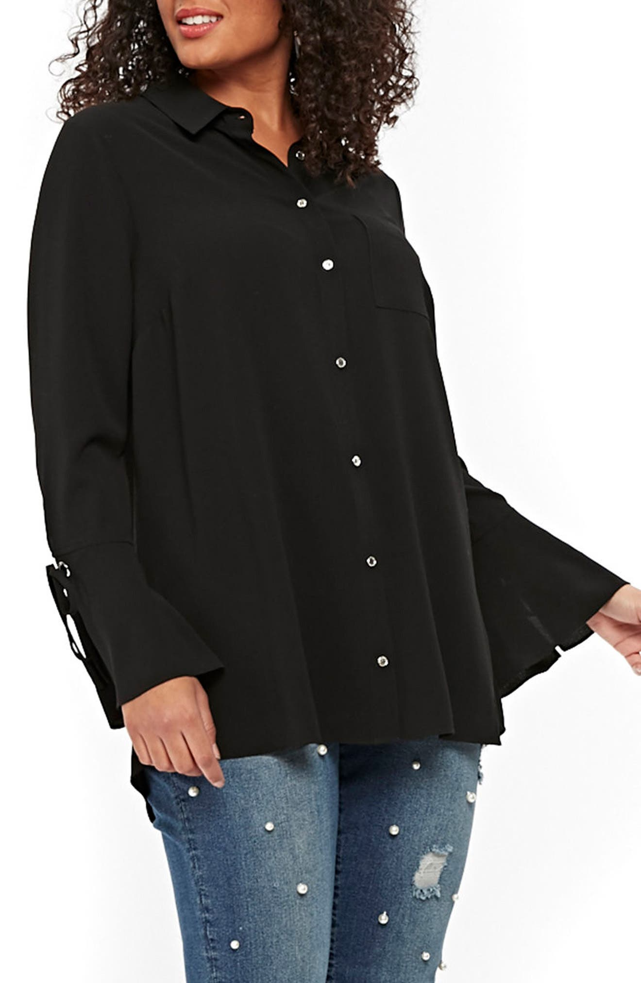 Evans Lace-Up Cuff Shirt (Plus Size)