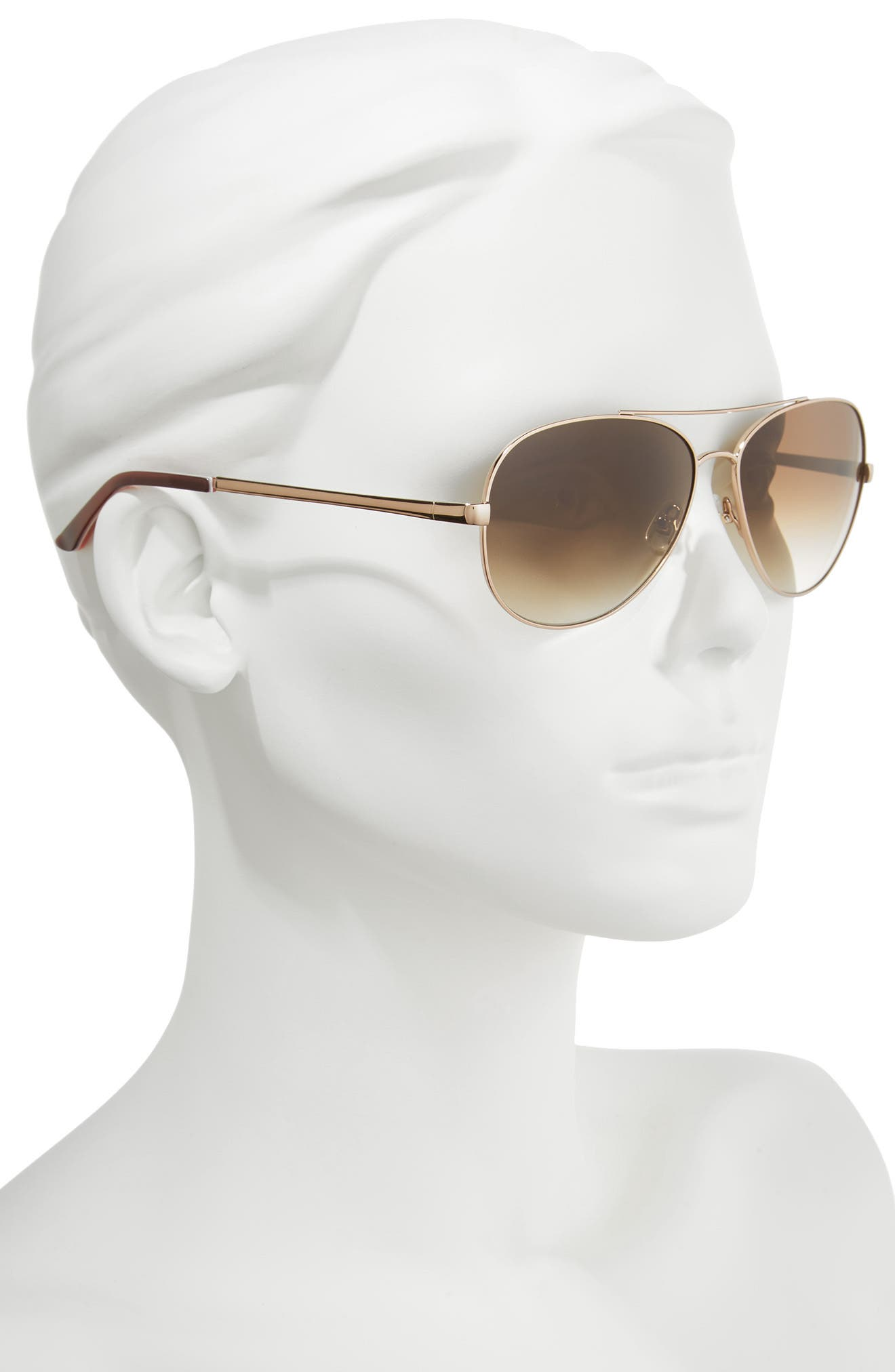 'avaline' 58mm aviator sunglasses,                             Alternate thumbnail 2, color,                             Rose Gold/ Brown Gradient