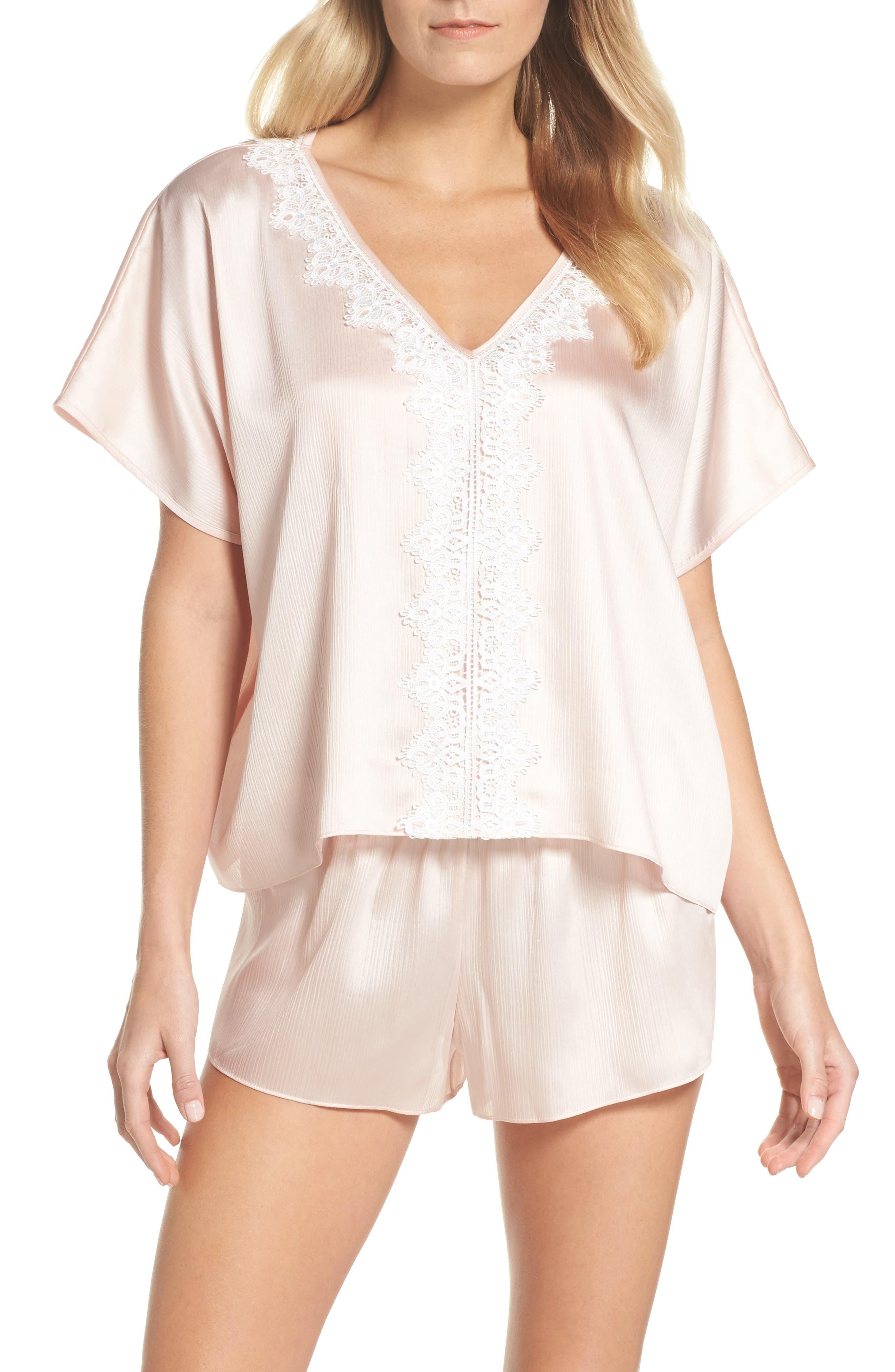 Mira Satin Short Pajamas,                             Main thumbnail 1, color,                             Buff