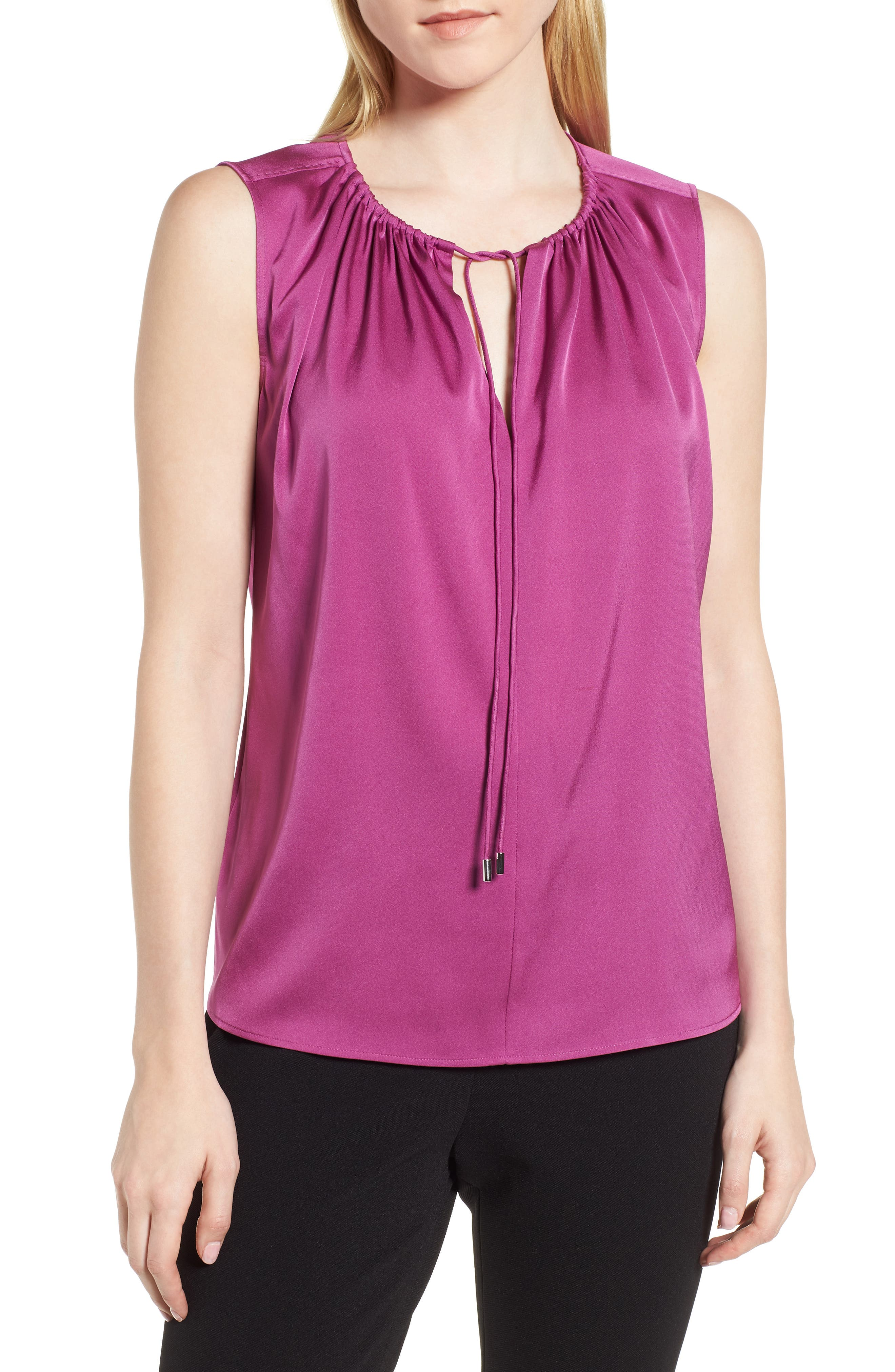 Ismarea Stretch Silk Top,                         Main,                         color, Bougainvillea
