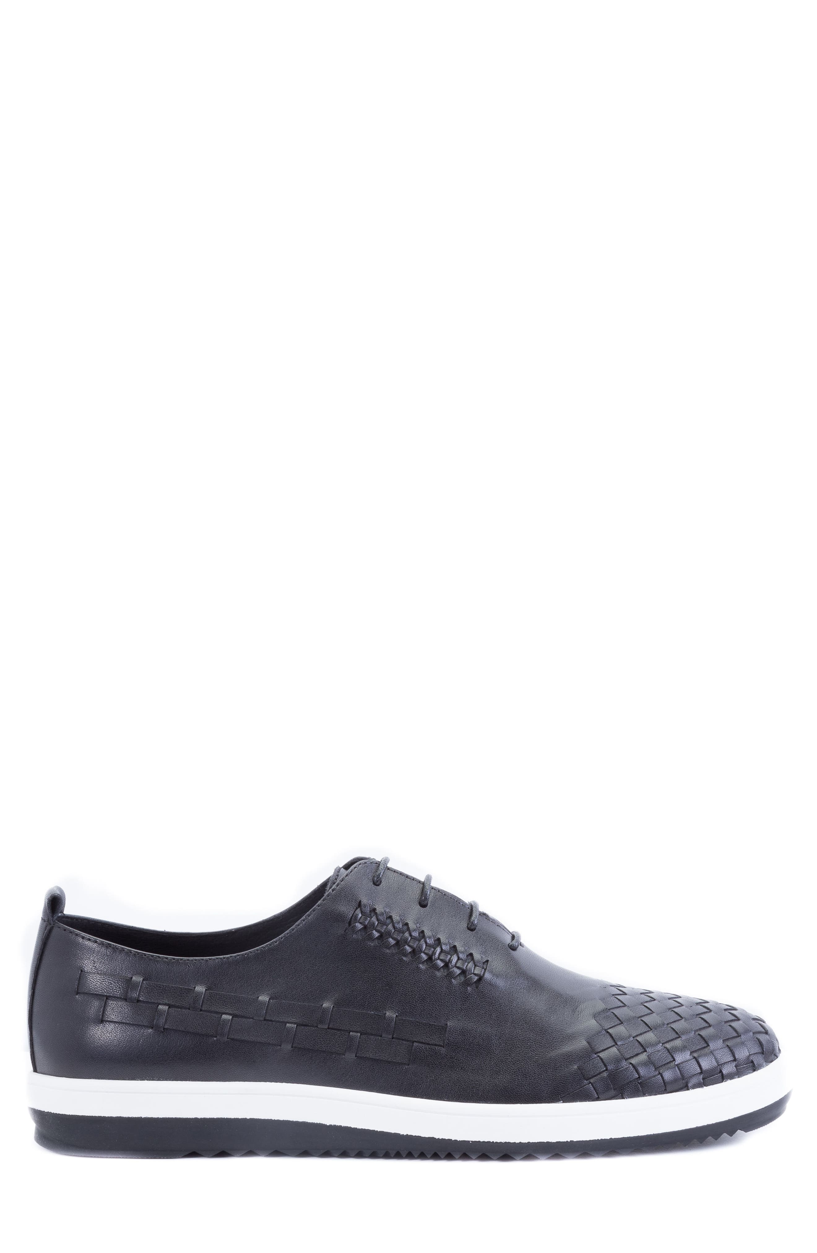 Digital Woven Cap Toe Sneaker,                             Alternate thumbnail 3, color,                             Black Leather