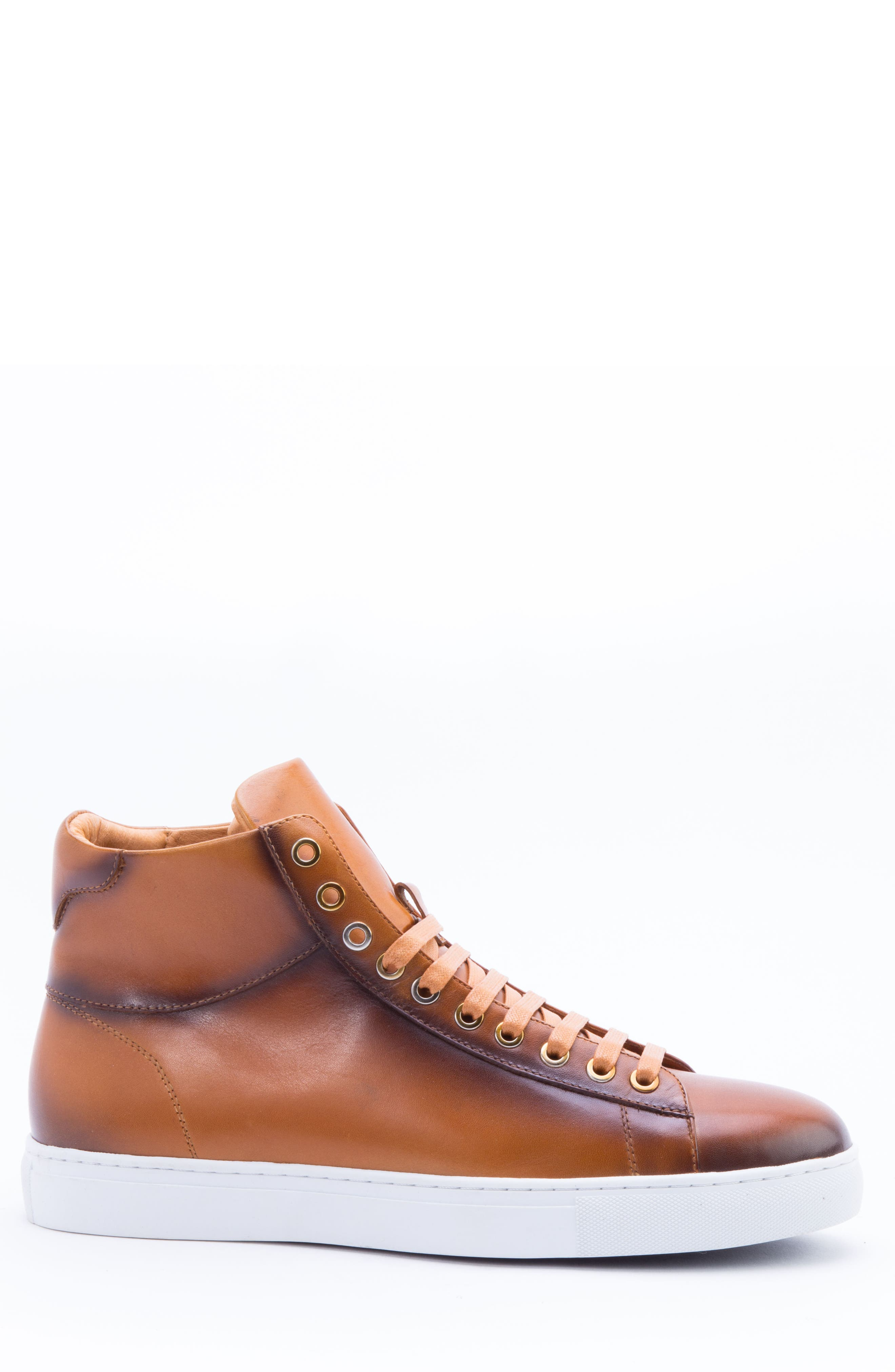 Spinback High Top Sneaker,                             Alternate thumbnail 3, color,                             Cognac Leather