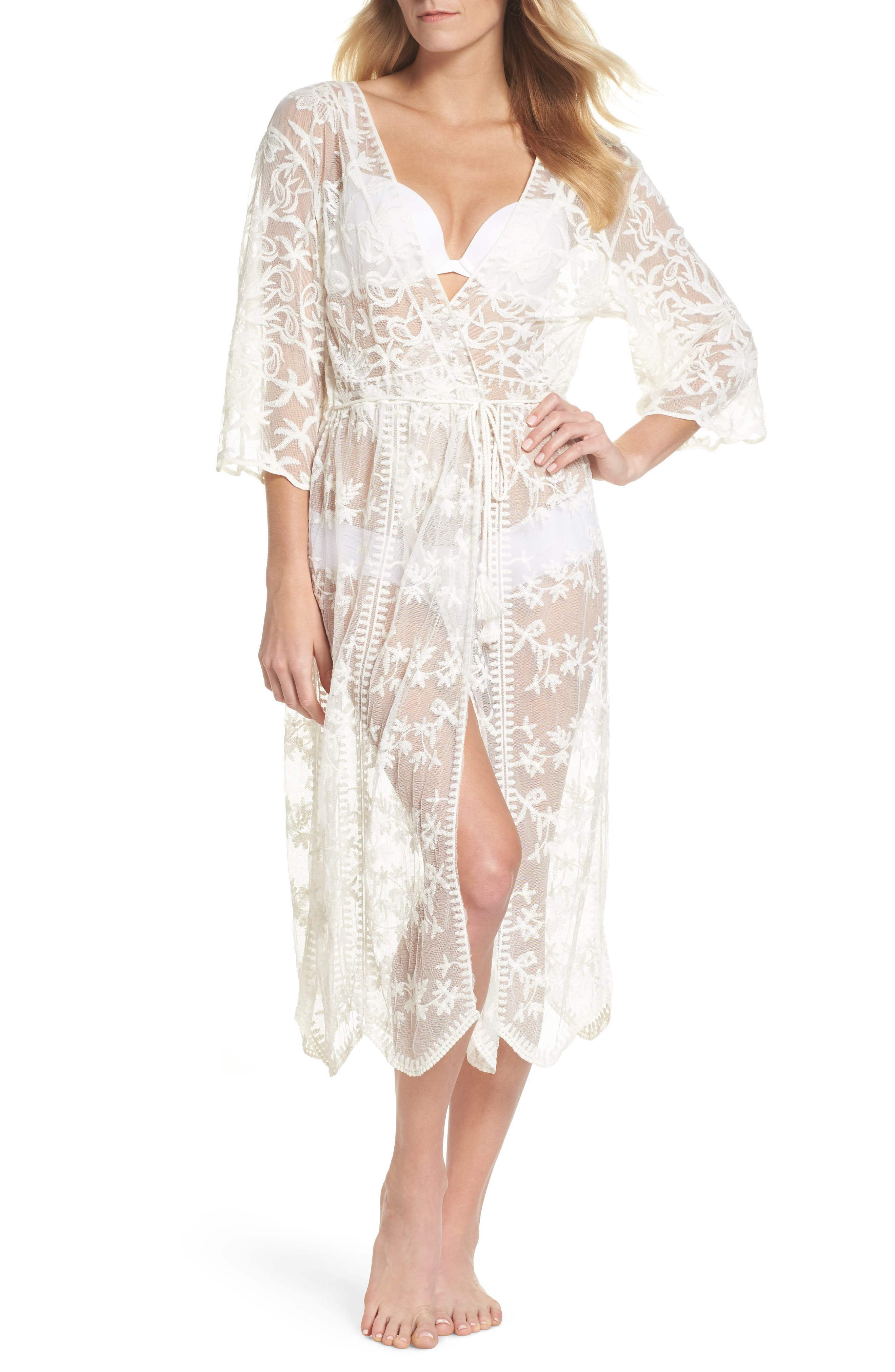 Tracey Embroidered Robe,                         Main,                         color, Ivory