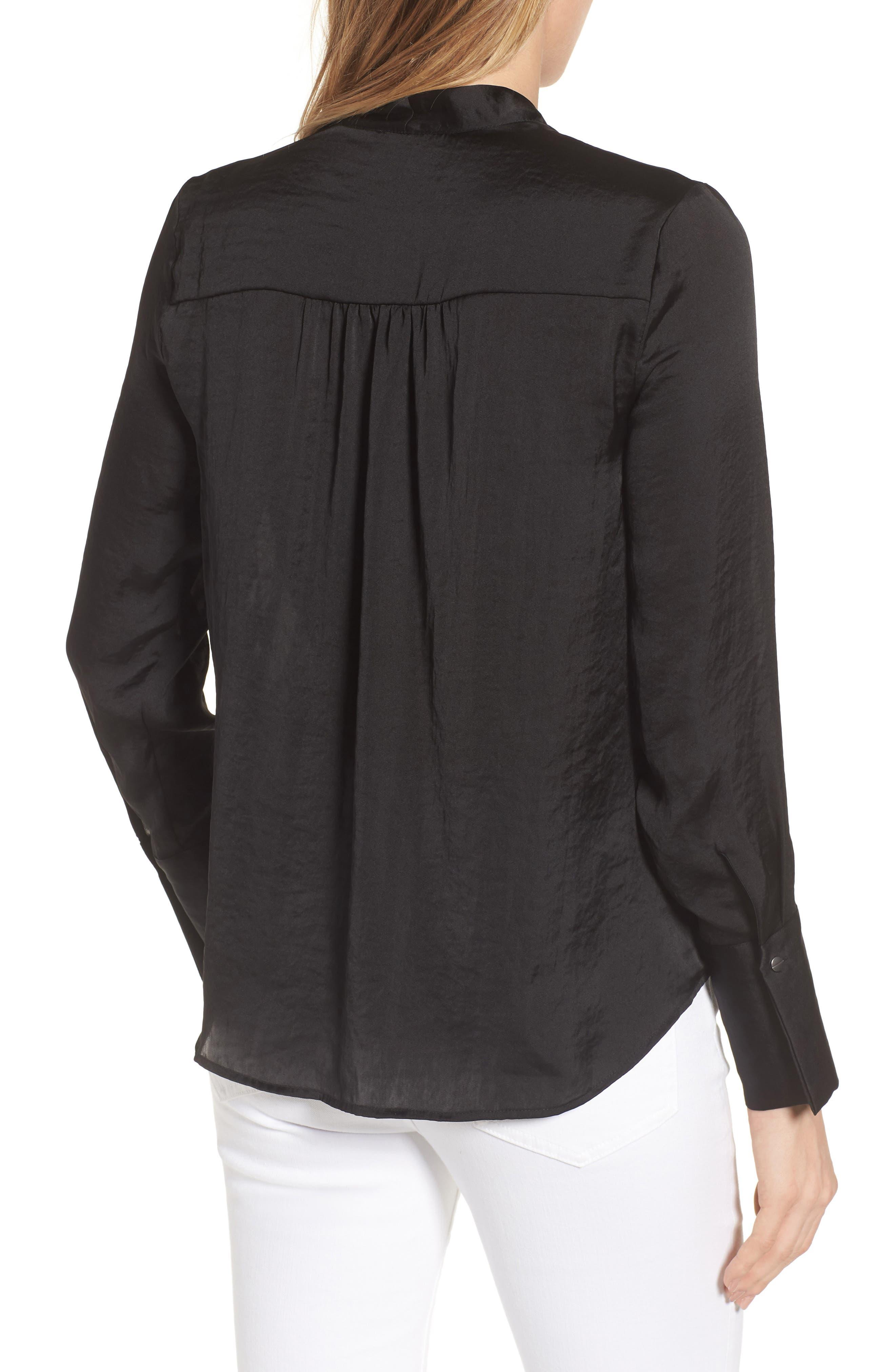 Crinkle Long Sleeve Blouse,                             Alternate thumbnail 2, color,                             Black