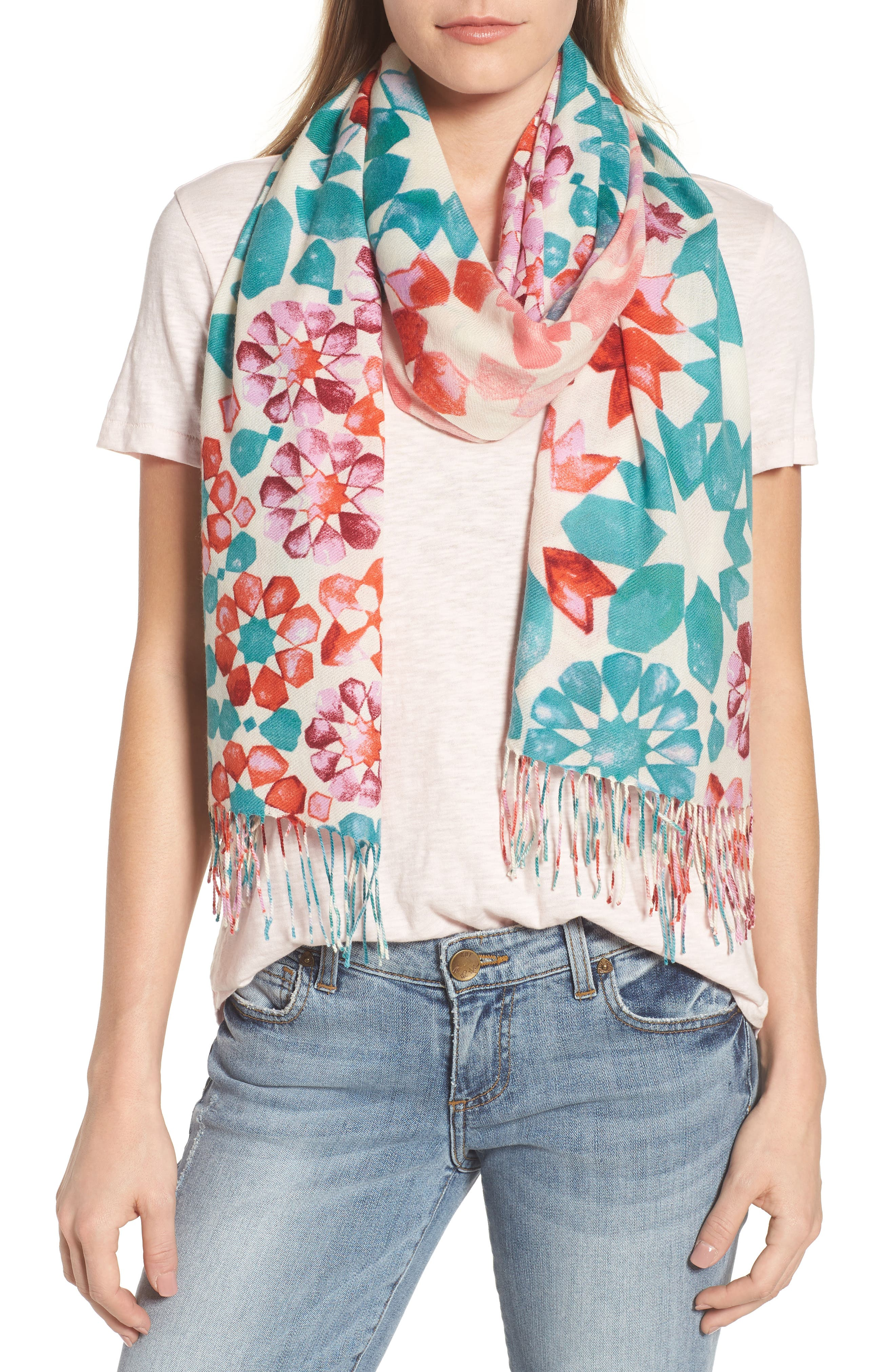 Tissue Print Wool & Cashmere Wrap Scarf,                             Main thumbnail 1, color,                             Pink Magical Mosaic