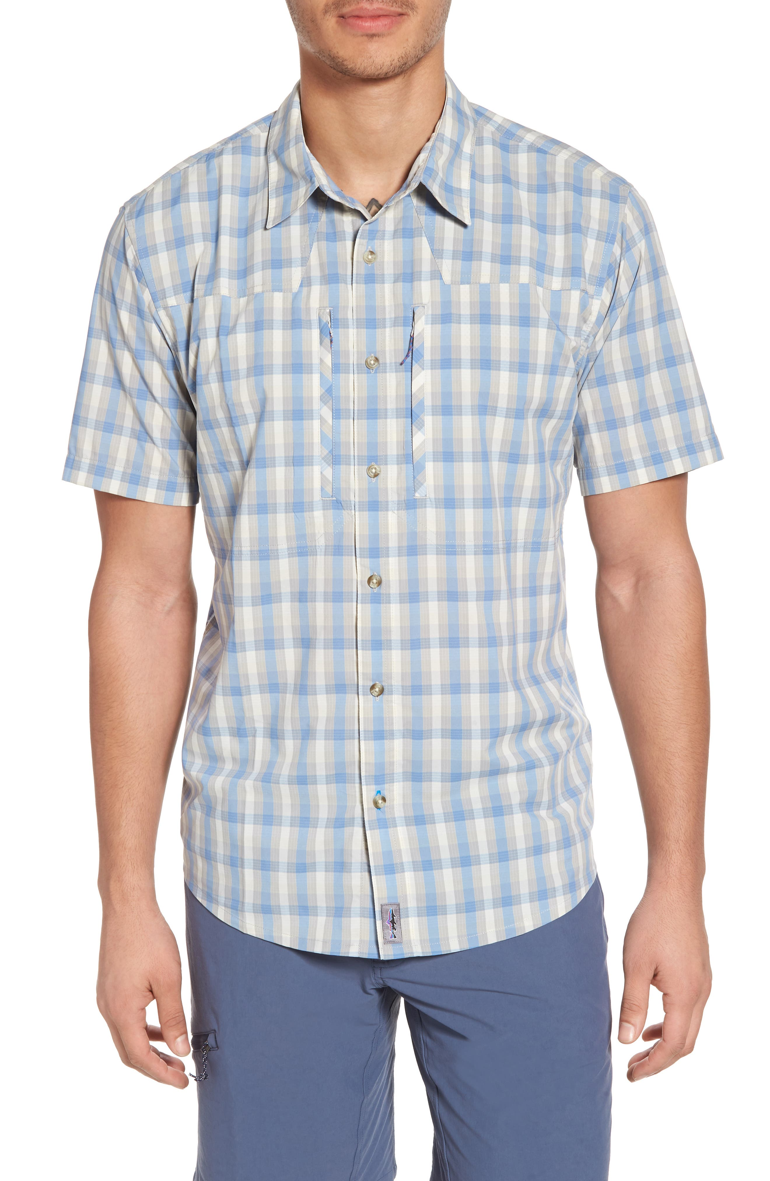 M's Sun Plaid Stretch Hybrid Shirt,                             Main thumbnail 1, color,                             Mauro Railroad Blue