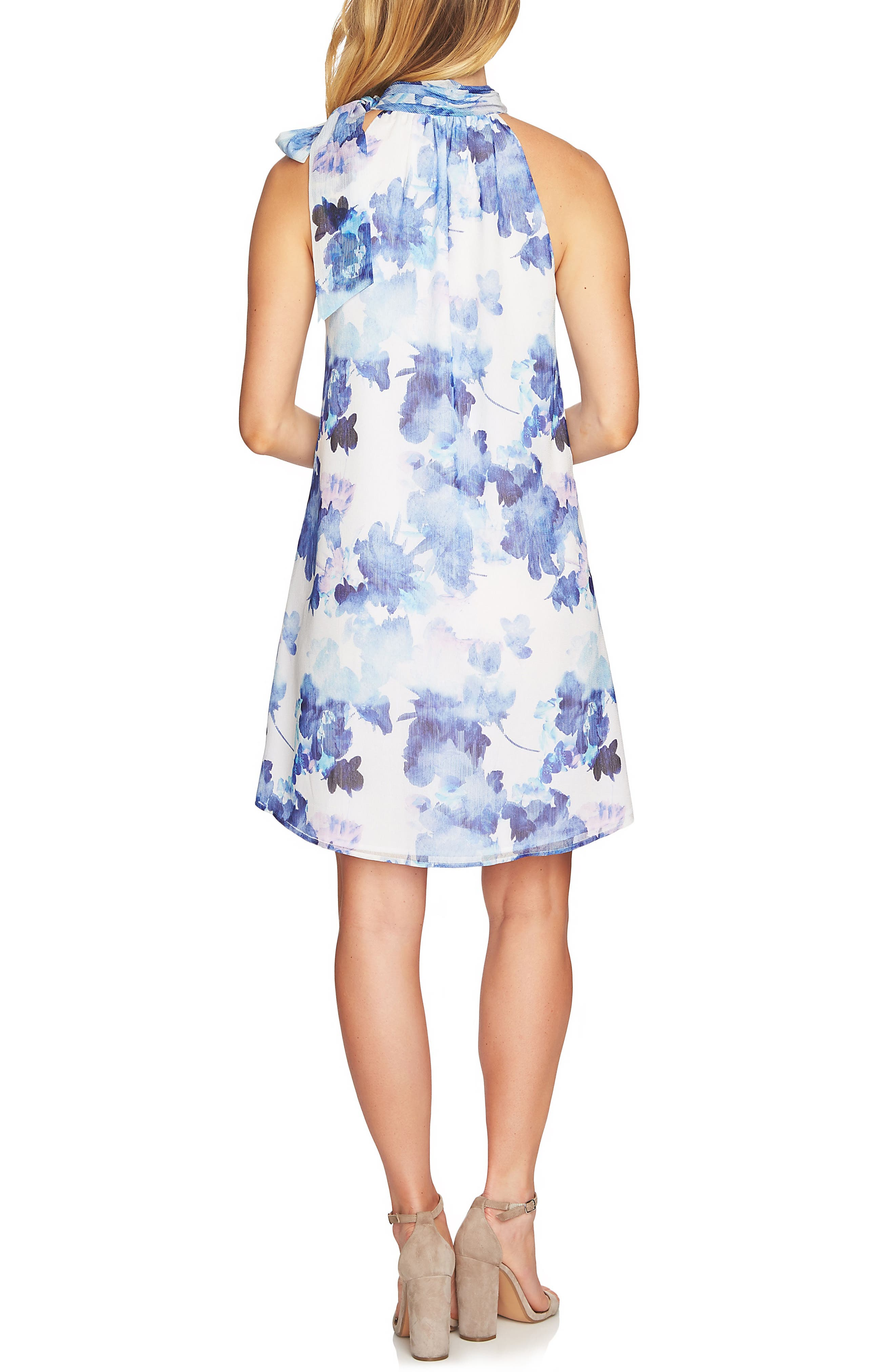 Dreamy Floral Tie Neck Halter Dress,                             Alternate thumbnail 2, color,                             Ultra White