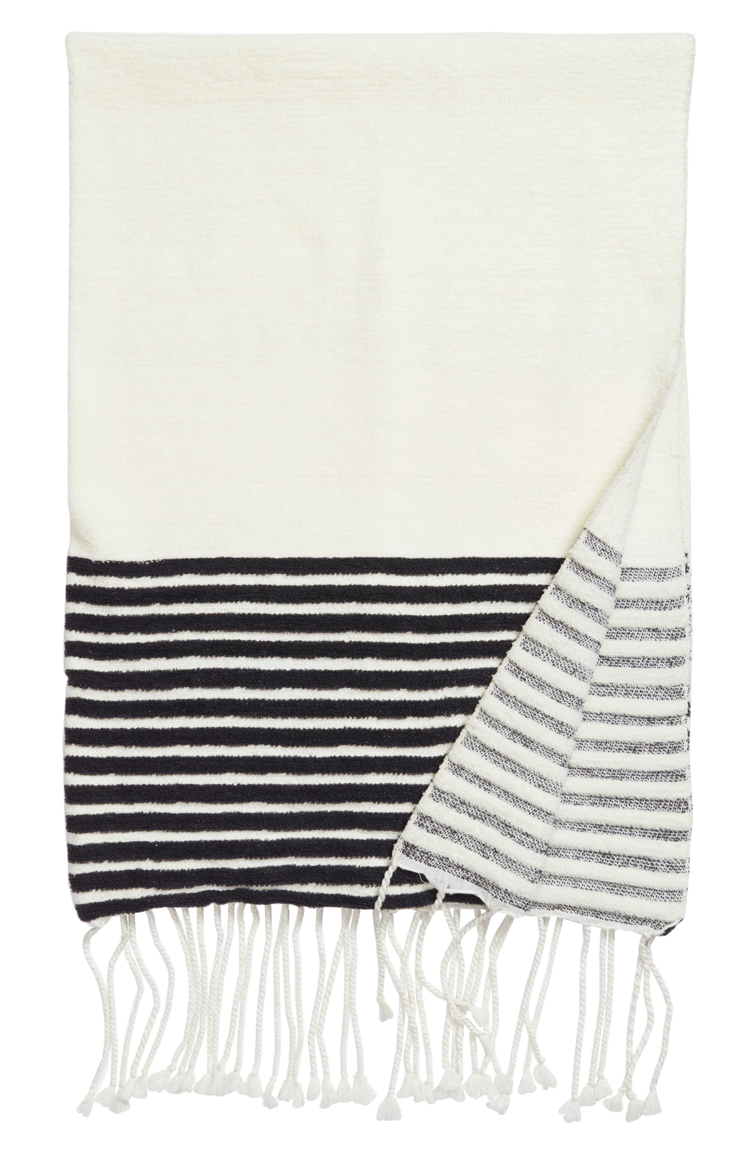 Hammam Stripe Throw,                         Main,                         color, Ivory