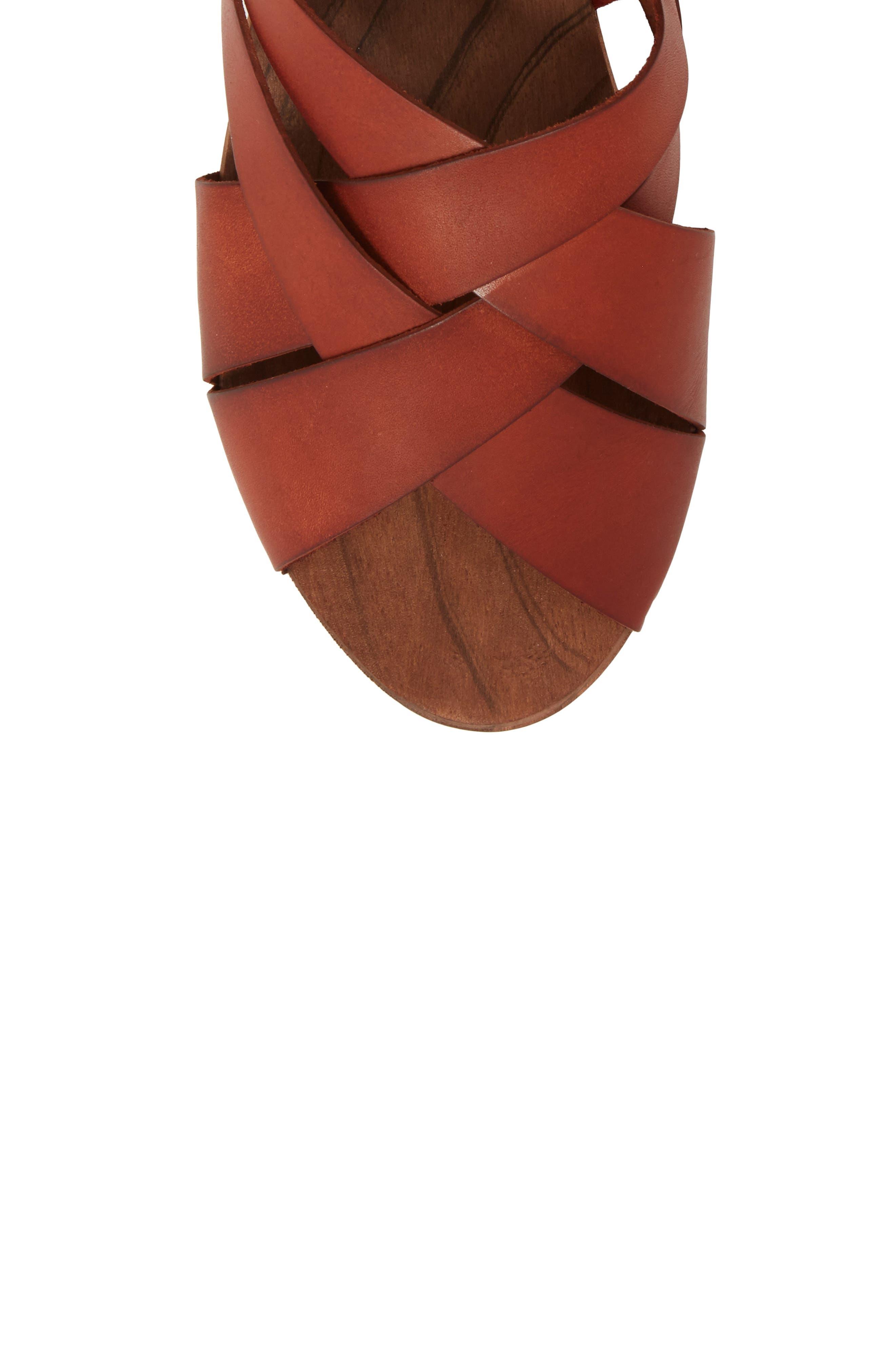 Emmy Ankle Wrap Sandal,                             Alternate thumbnail 5, color,                             Brown