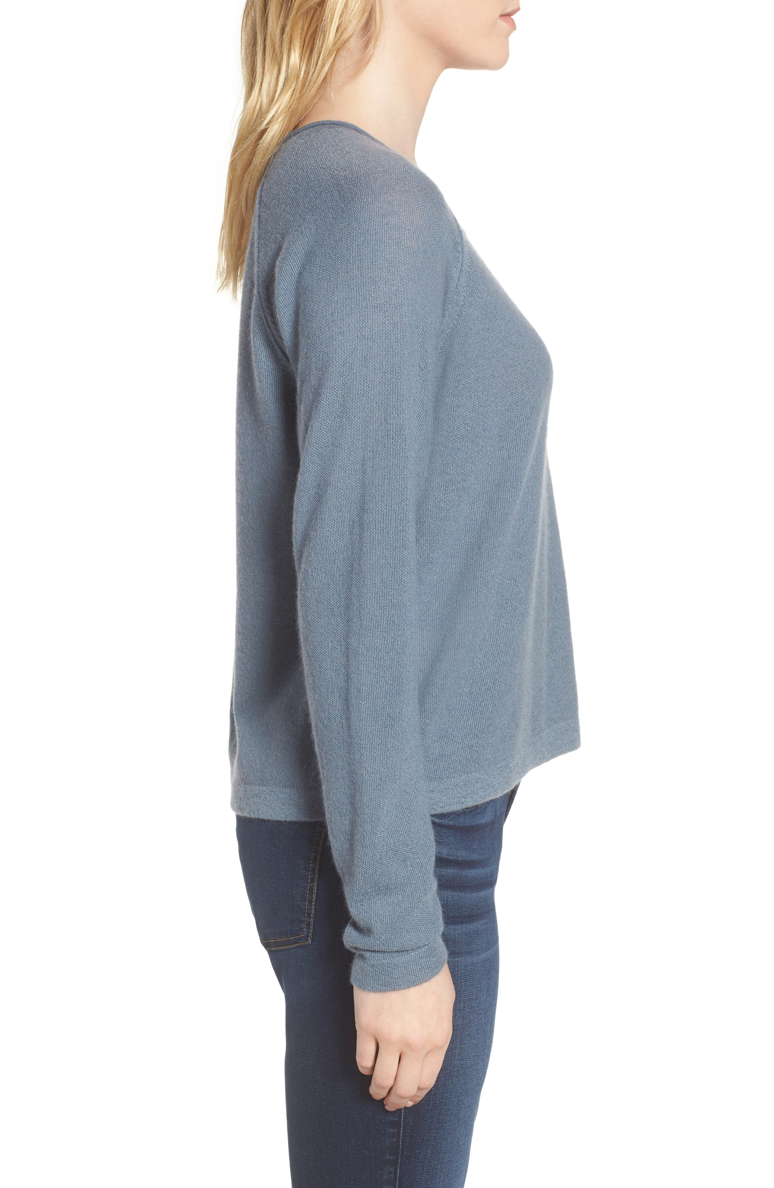 Cashmere Sweater,                             Alternate thumbnail 3, color,                             Heather Cruise