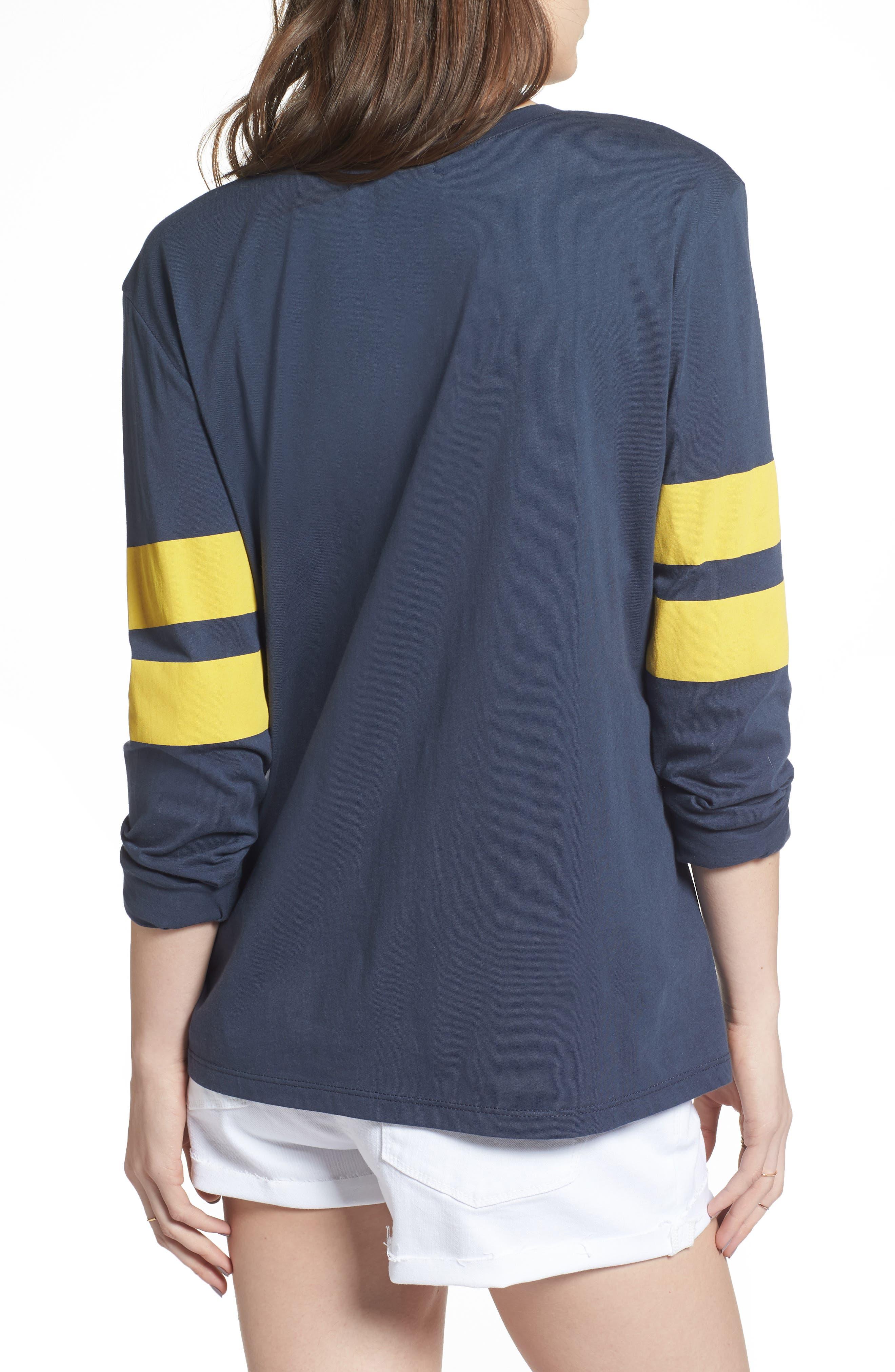 Varsity Stripe Tee,                             Alternate thumbnail 2, color,                             Navy Blue- Yellow Combo