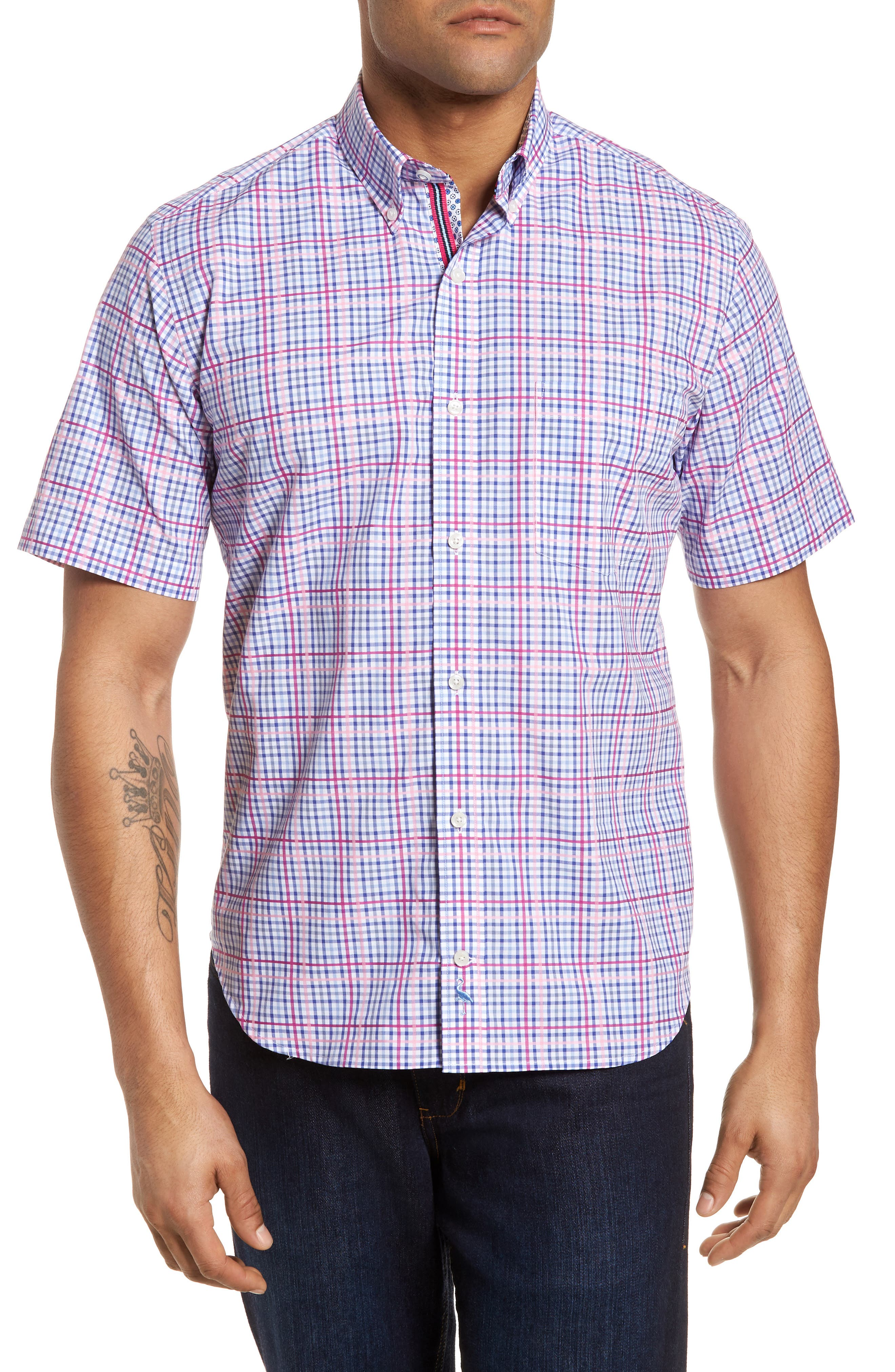 Ale Regular Fit Check Sport Shirt,                         Main,                         color, Pink