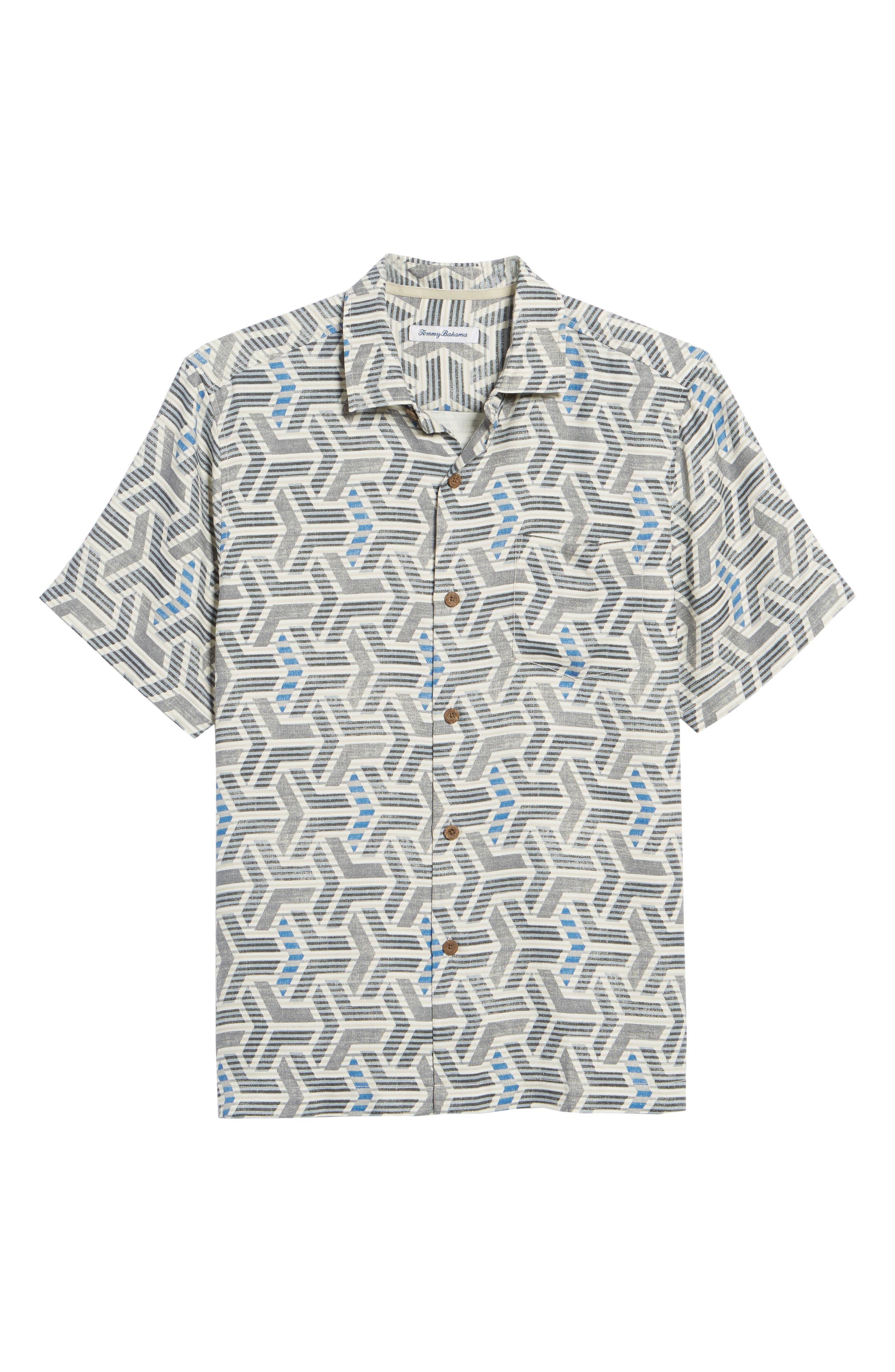 Wellington Geometric Silk Blend Camp Shirt,                             Alternate thumbnail 6, color,                             Fog Grey