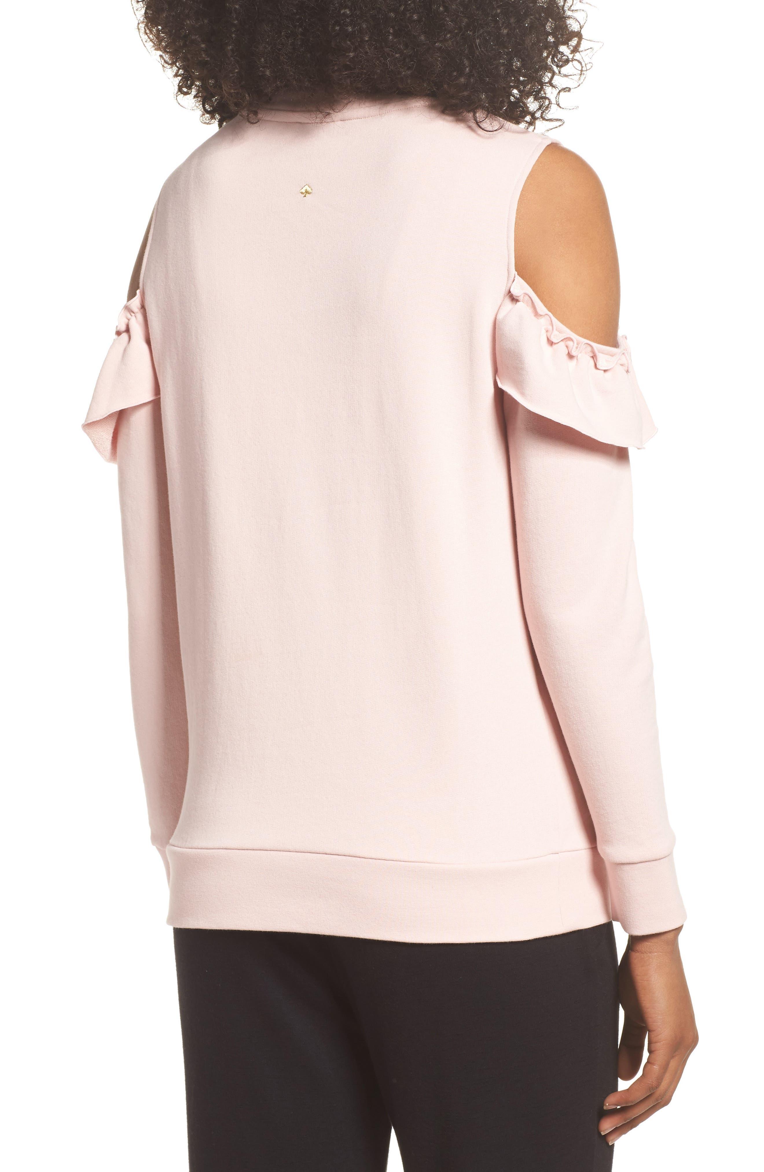 cold shoulder sweatshirt,                             Alternate thumbnail 2, color,                             Blusher