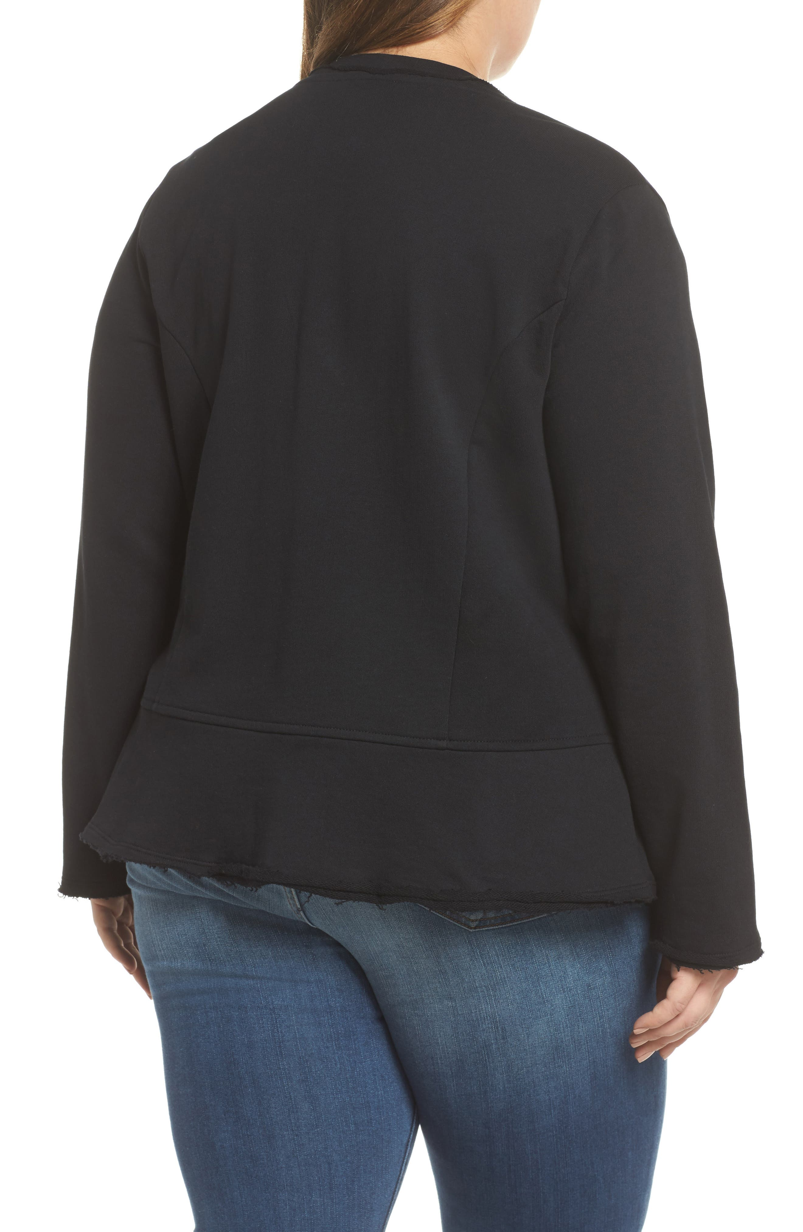Knit Peplum Jacket,                             Alternate thumbnail 2, color,                             Black