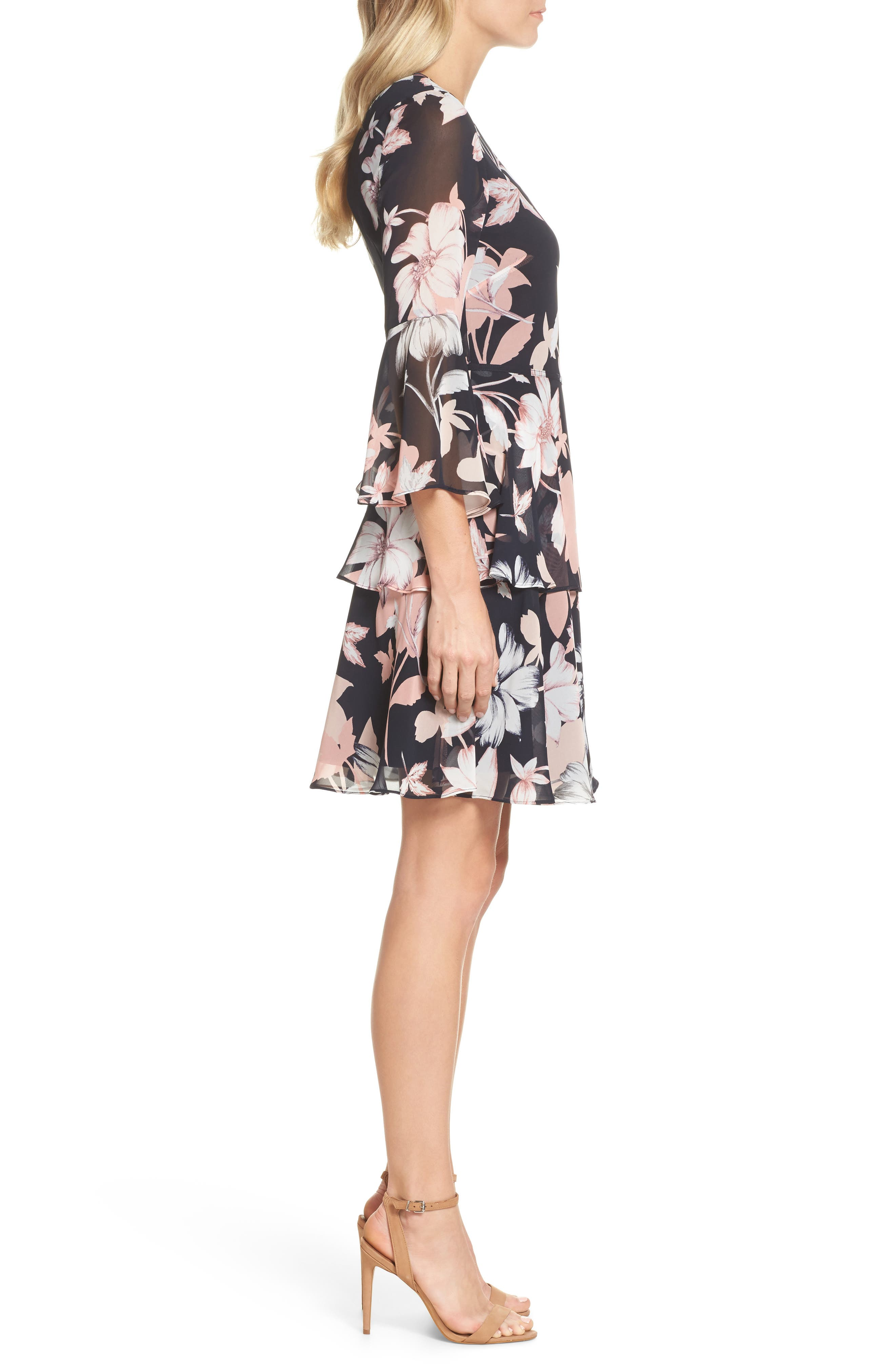 Floral Print Tiered Chiffon Dress,                             Alternate thumbnail 3, color,                             Navy Multi