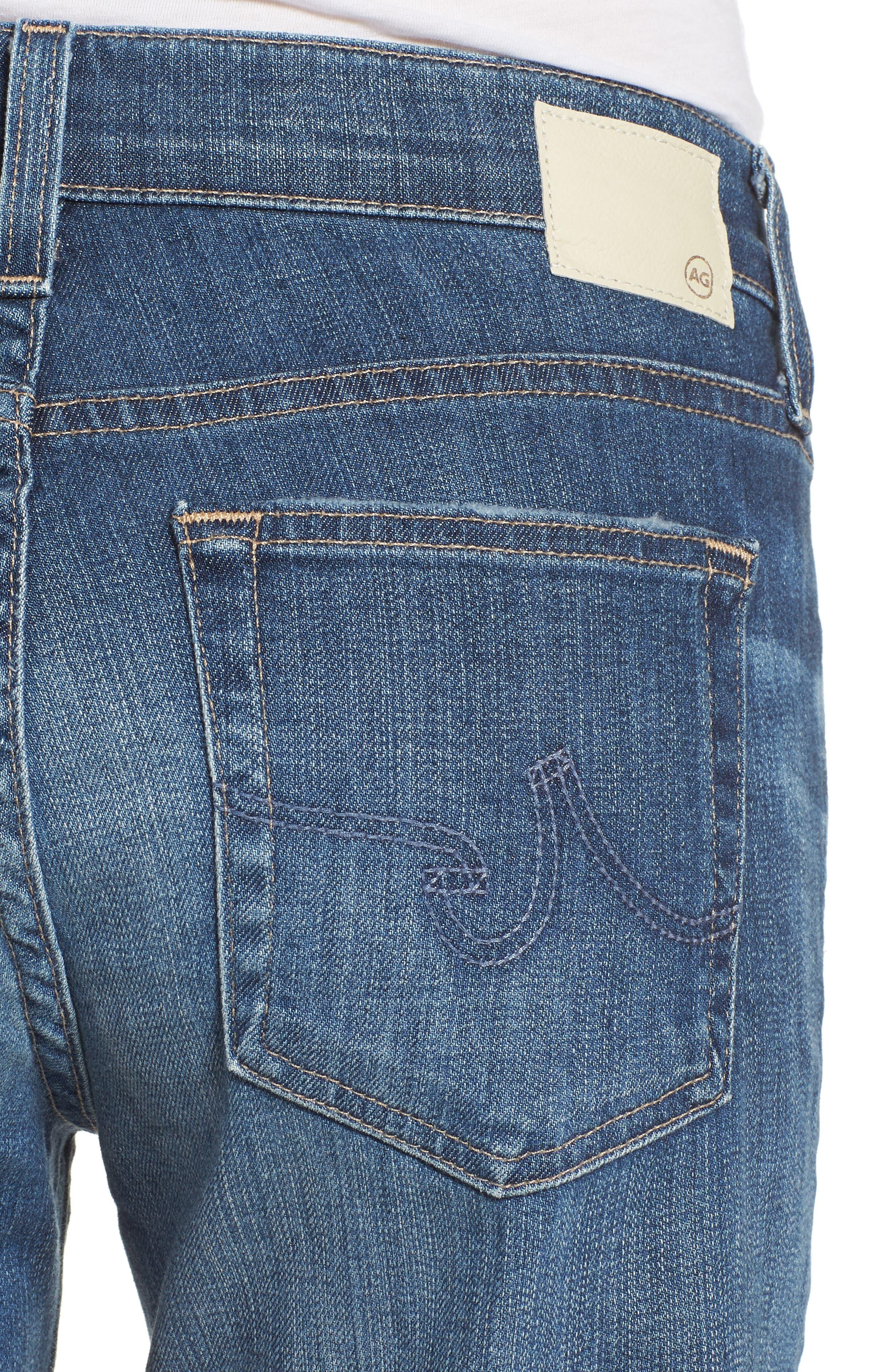 'Nikki' Distressed Denim Bermuda Shorts,                             Alternate thumbnail 4, color,                             11 Years Sapphire Sky