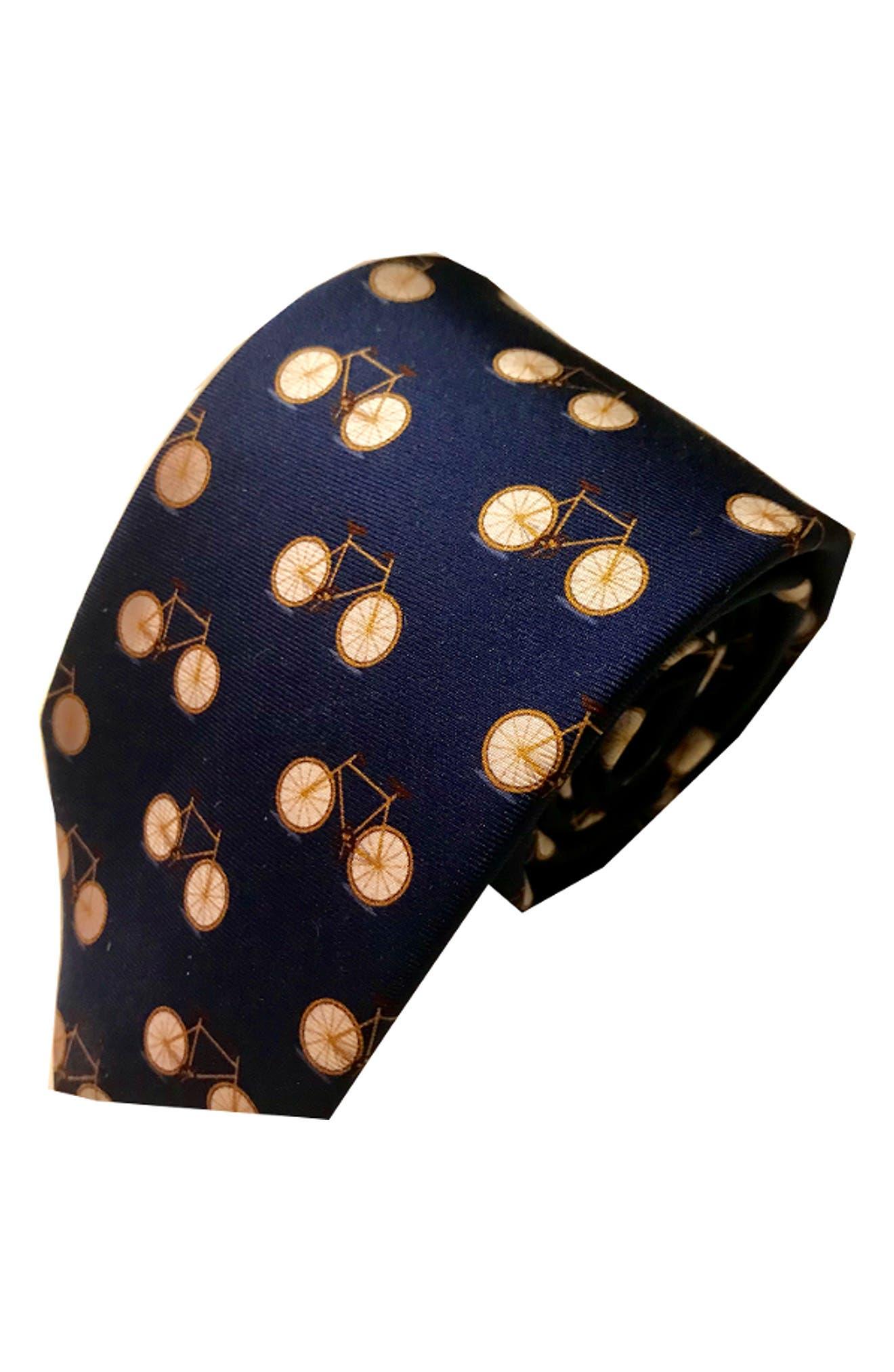 Bike Silk Tie,                         Main,                         color, Navy