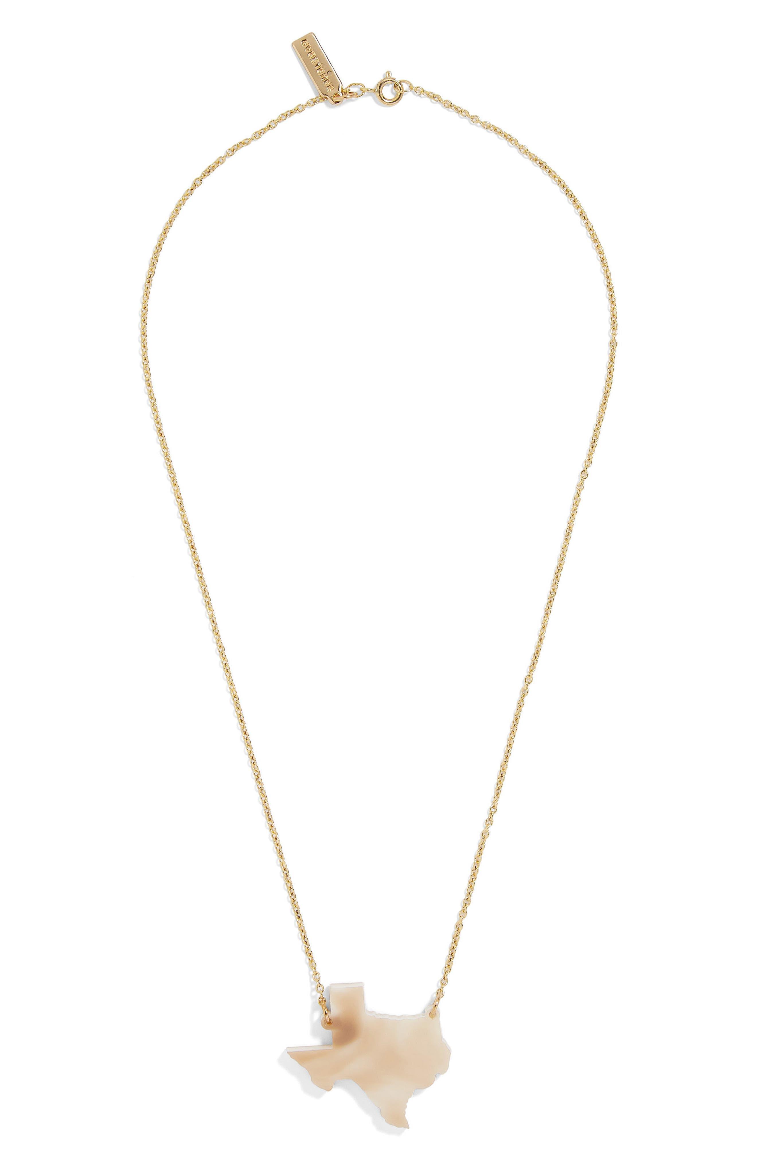 BaubleBar Acrylic State Pendant Necklace