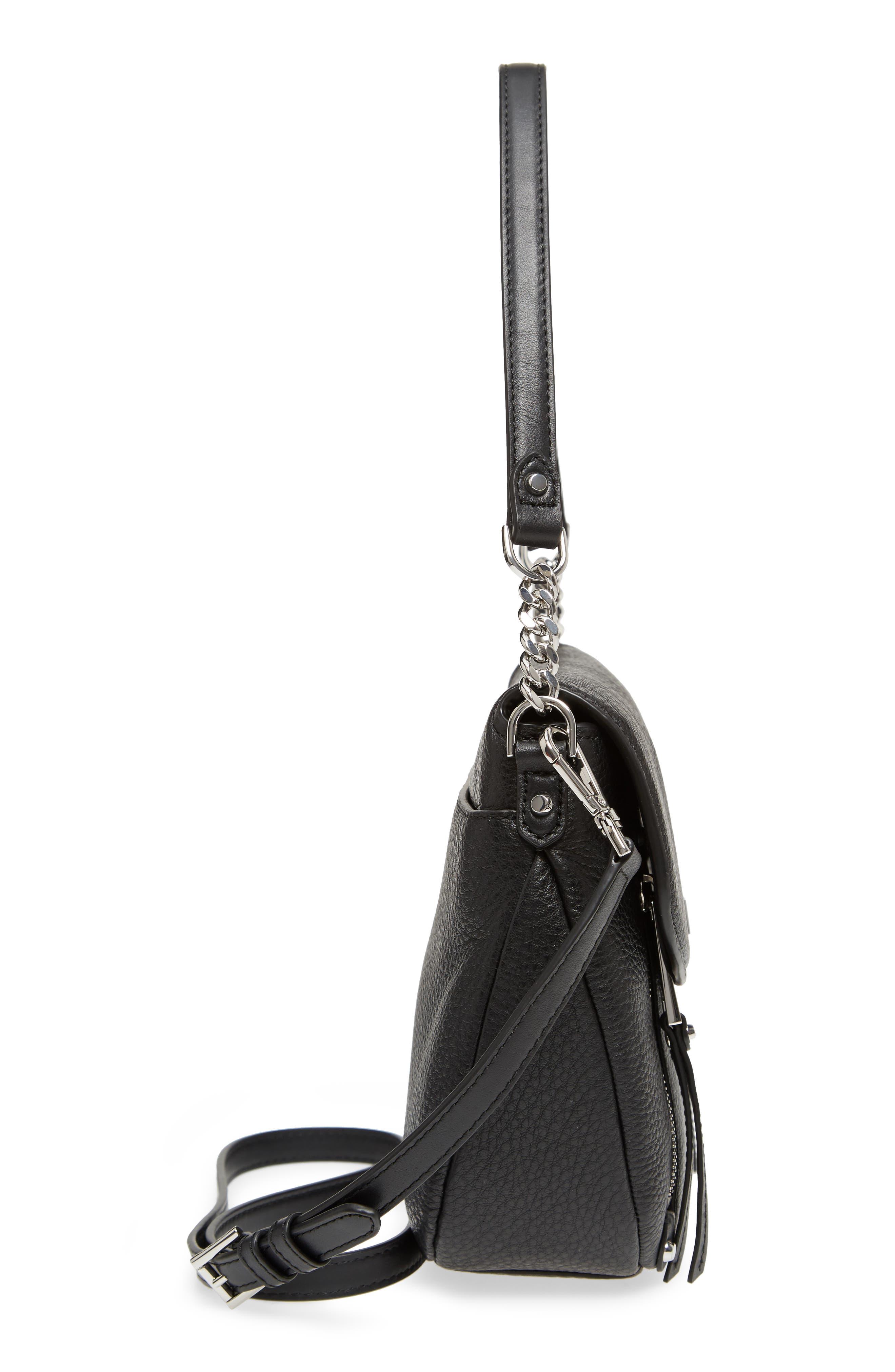 Medium Leather Shoulder Bag,                             Alternate thumbnail 5, color,                             Black