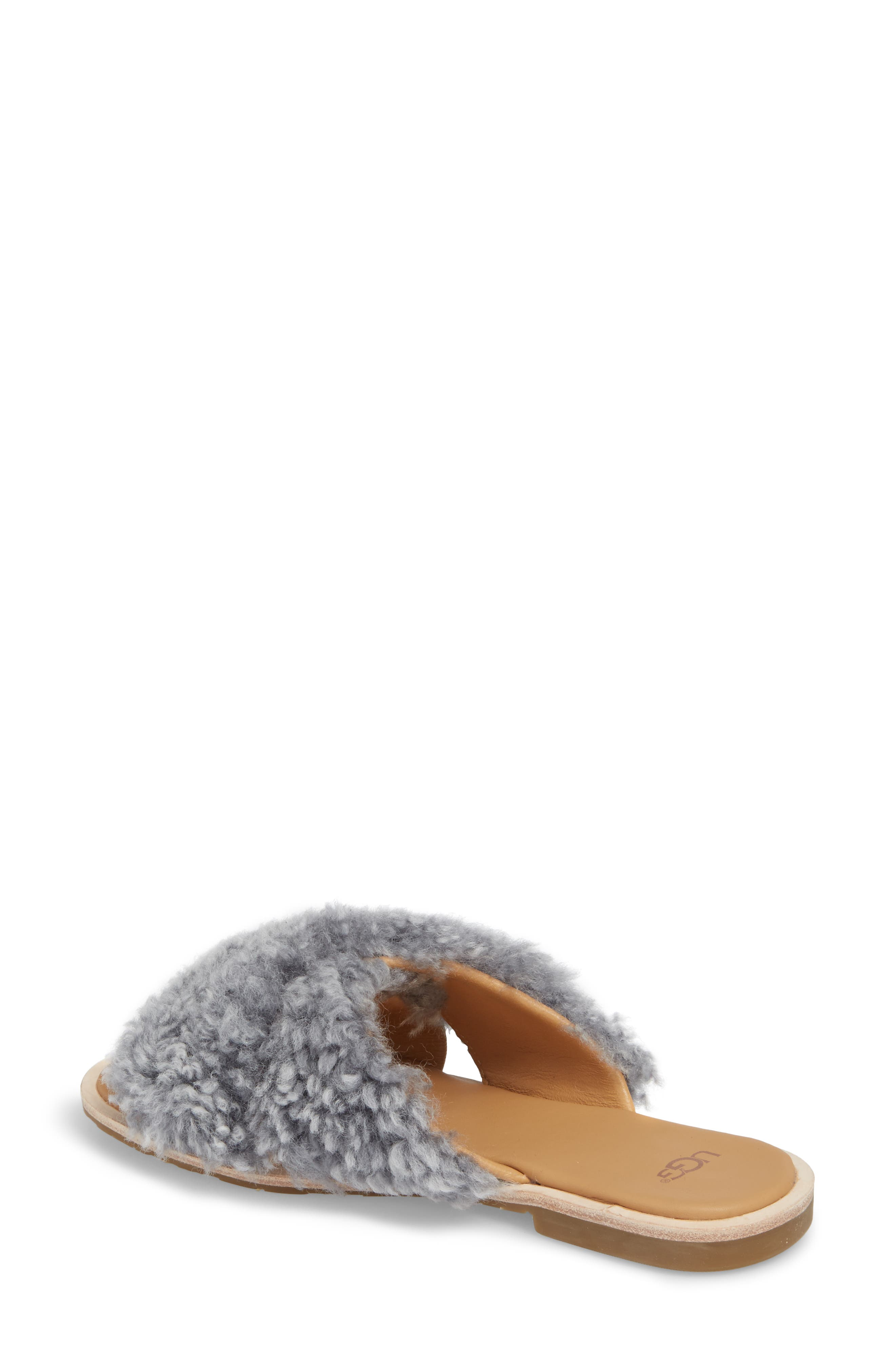 Joni Genuine Shearling Slide Sandal,                             Alternate thumbnail 2, color,                             Lude Grey