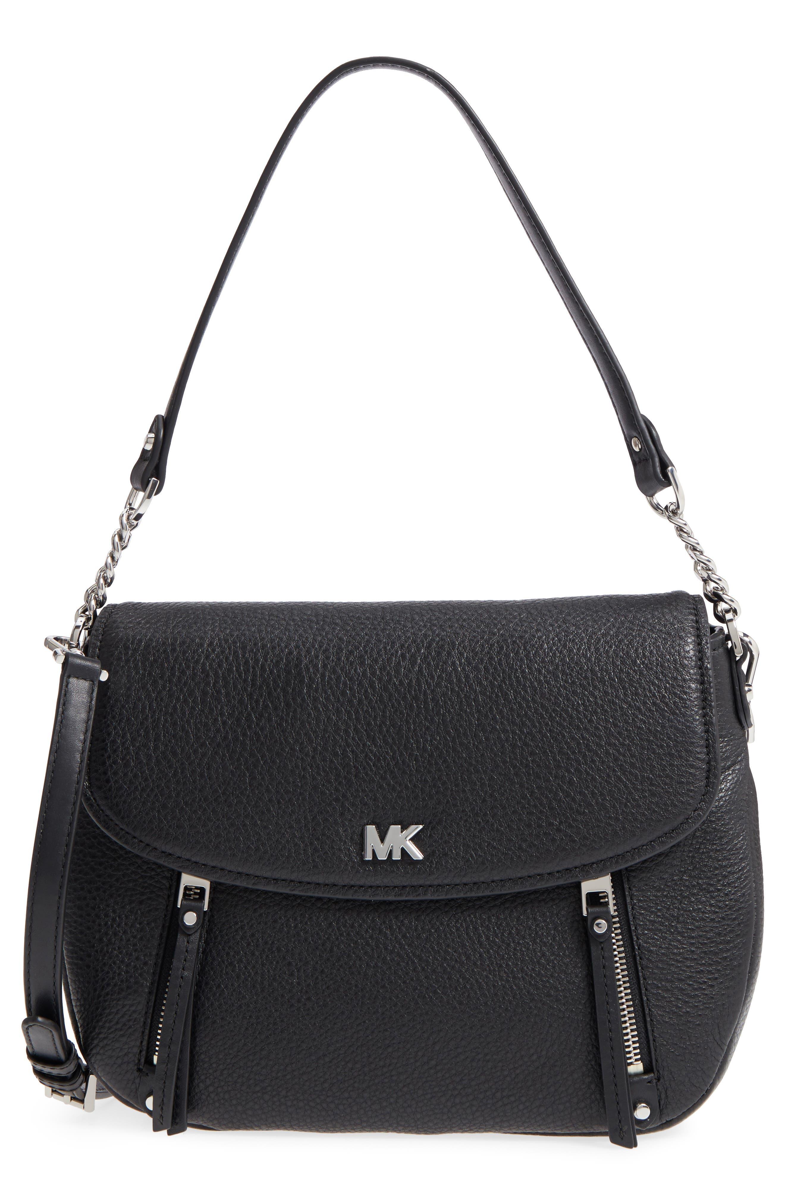 Medium Leather Shoulder Bag,                             Main thumbnail 1, color,                             Black