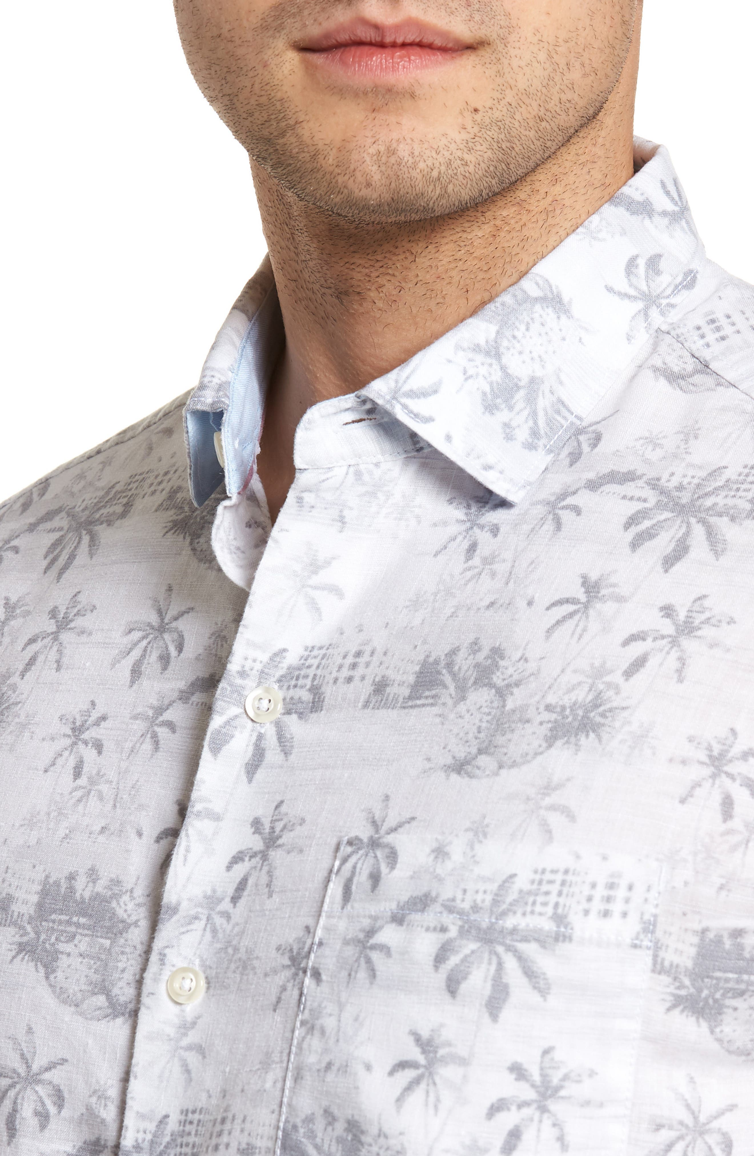 Tropical Toile Sport Shirt,                             Alternate thumbnail 4, color,                             Micro Chip