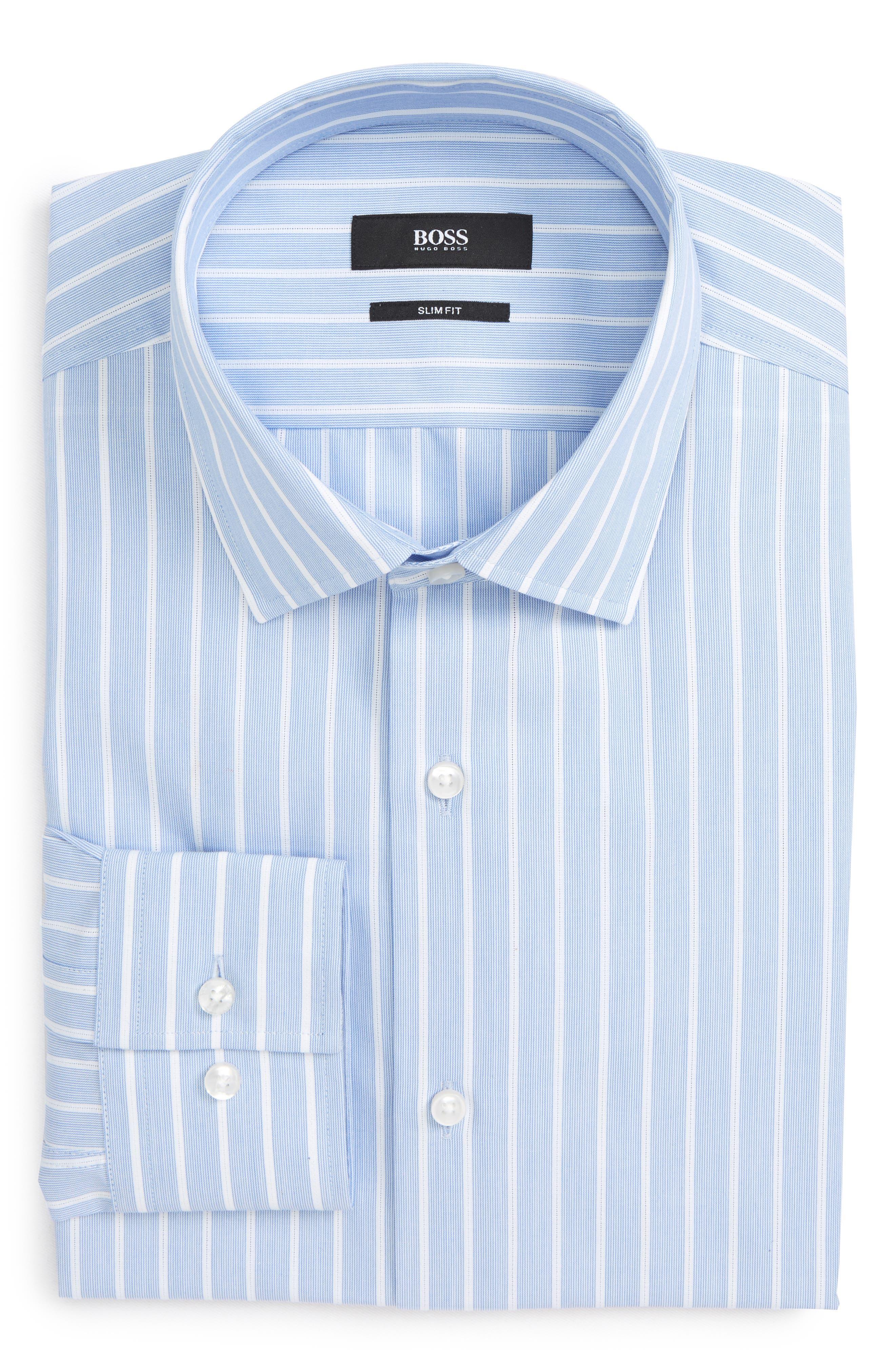 Jenno Slim Fit Stripe Dress Shirt,                             Alternate thumbnail 6, color,                             Blue
