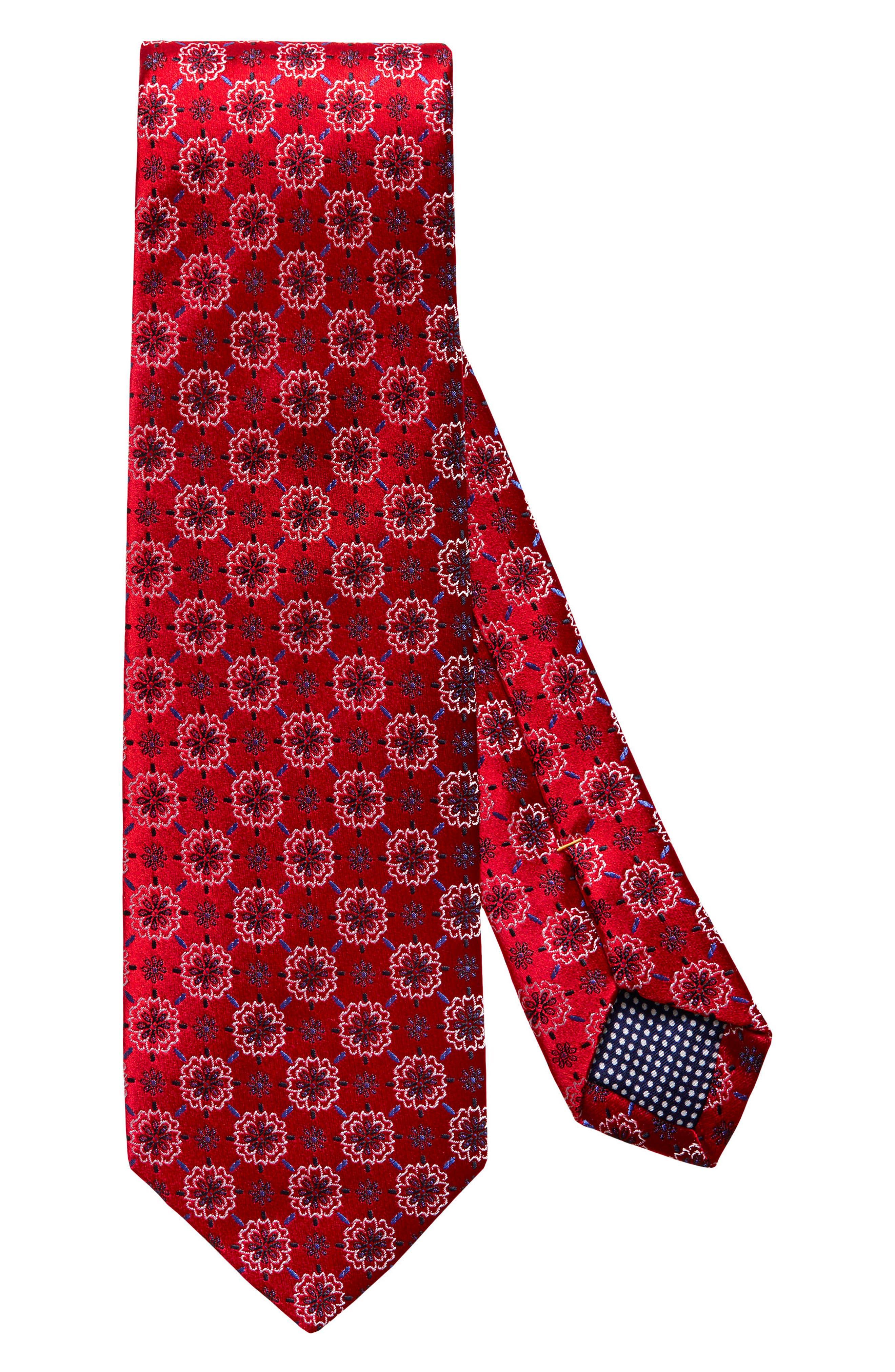 Medallion Silk Tie,                         Main,                         color, Red