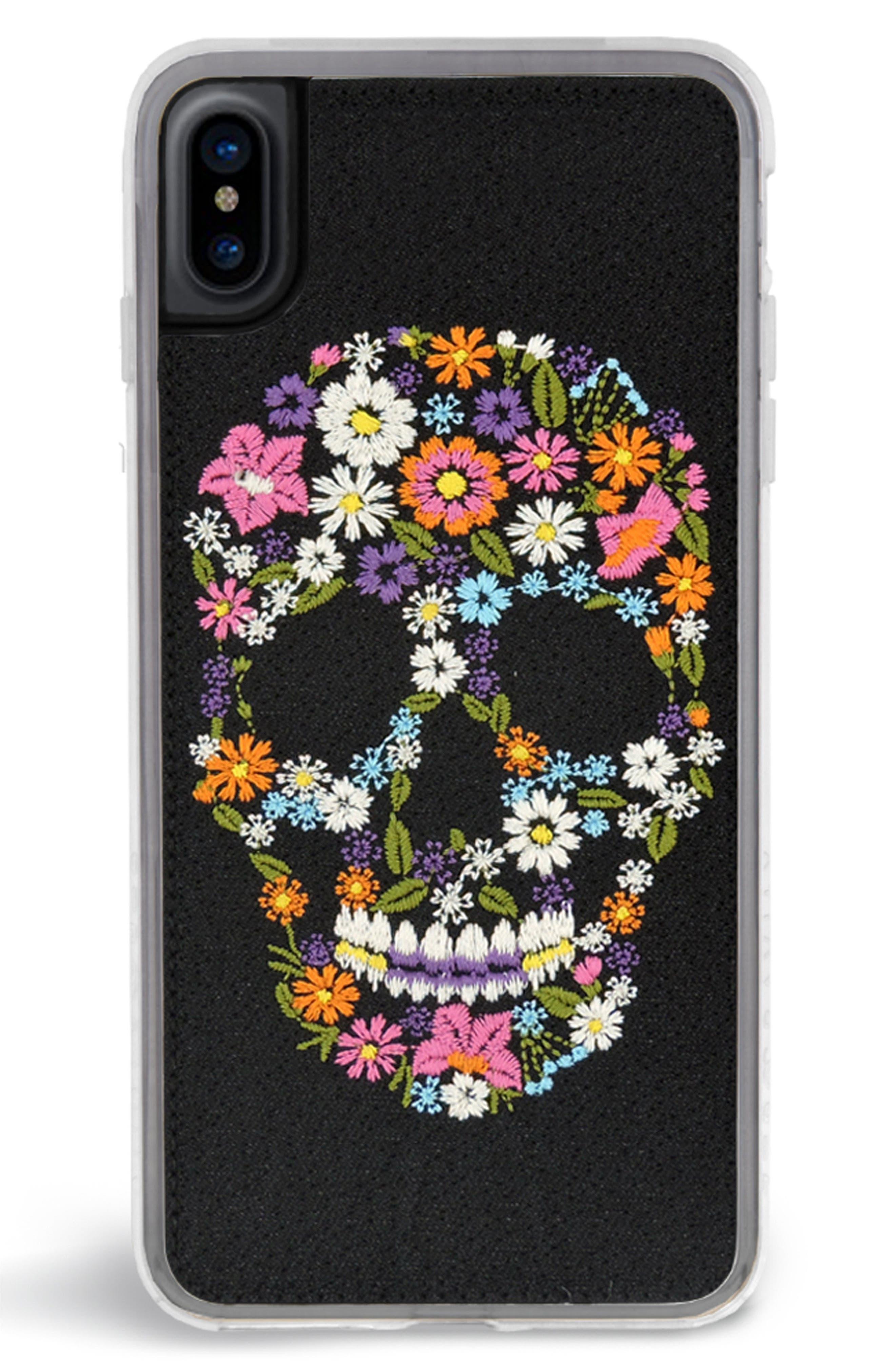 Calavera iPhone X Case,                             Main thumbnail 1, color,                             Black Multi