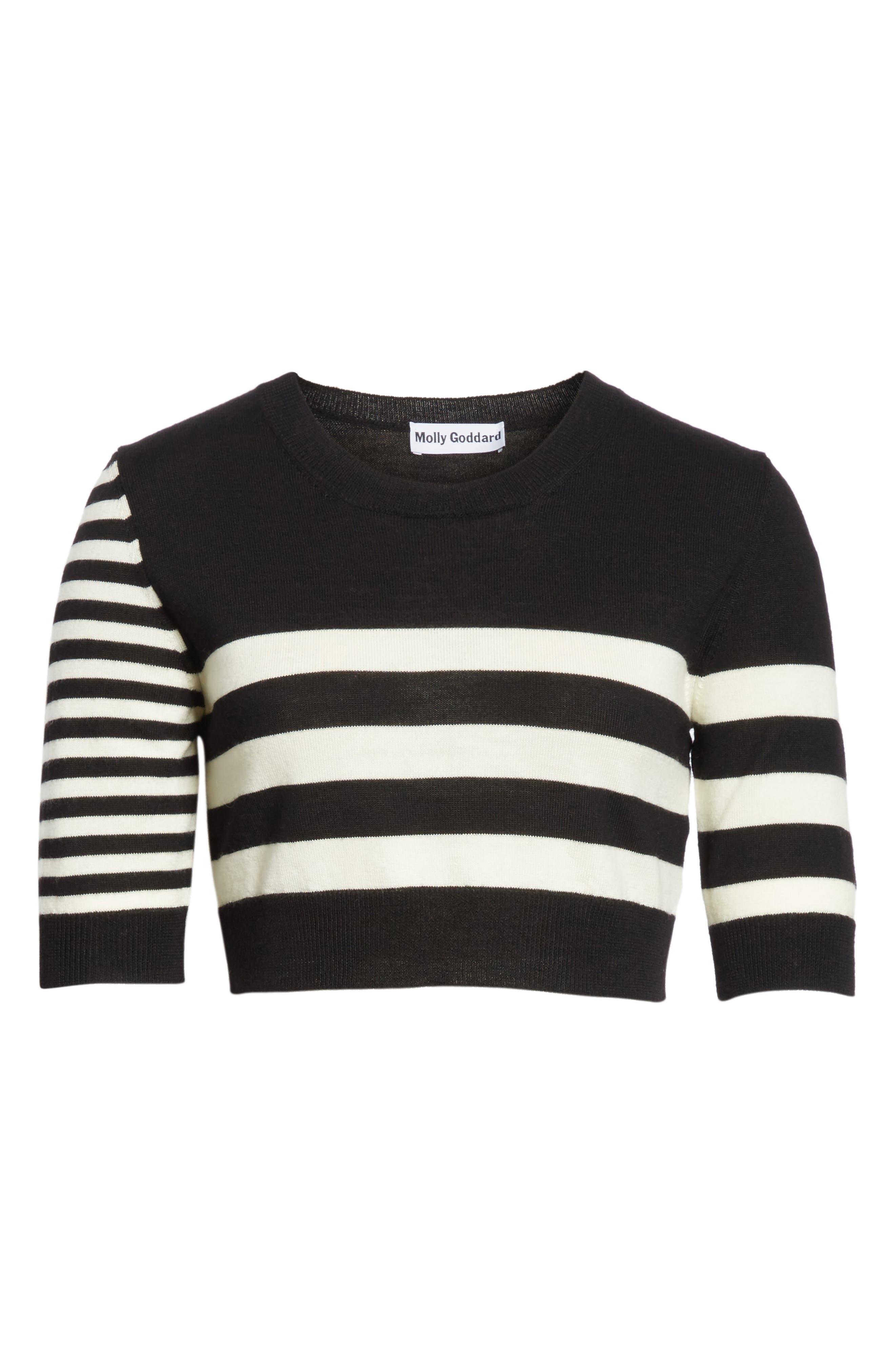Love Stripe Crop Wool Sweater,                             Alternate thumbnail 6, color,                             Black/ White