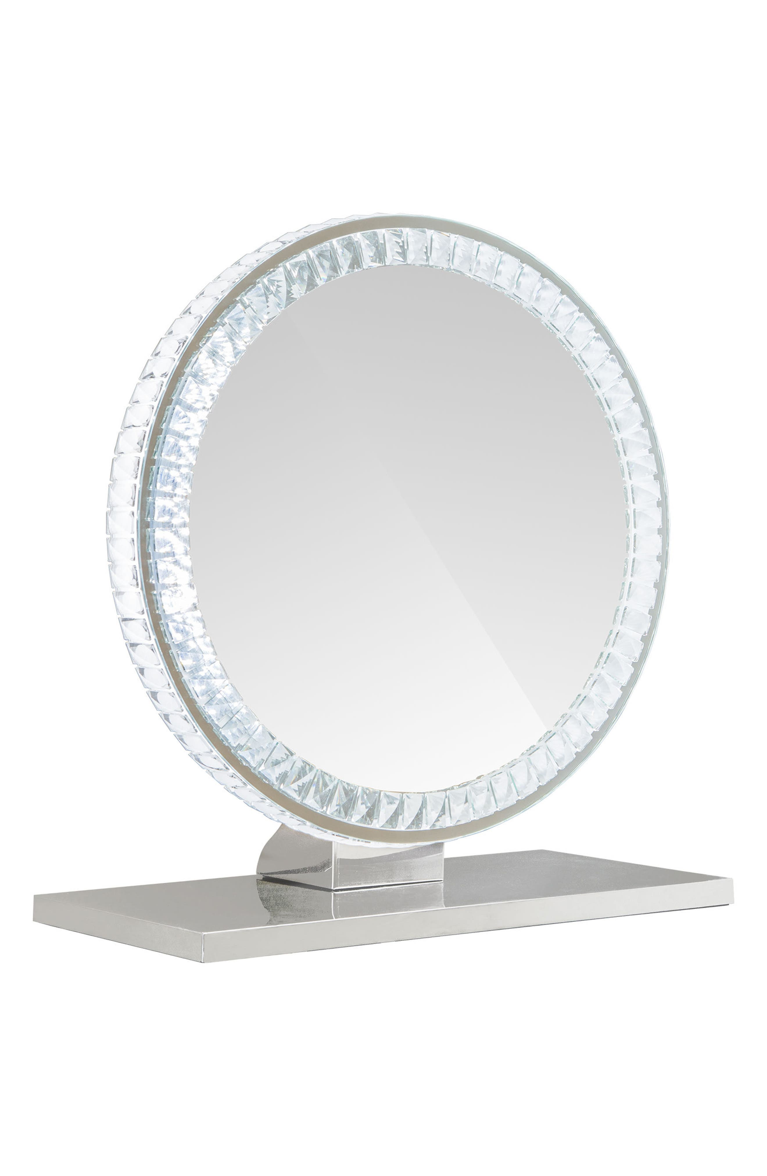 Diamond Collection Round LED Vanity Mirror,                             Main thumbnail 1, color,                             Clear