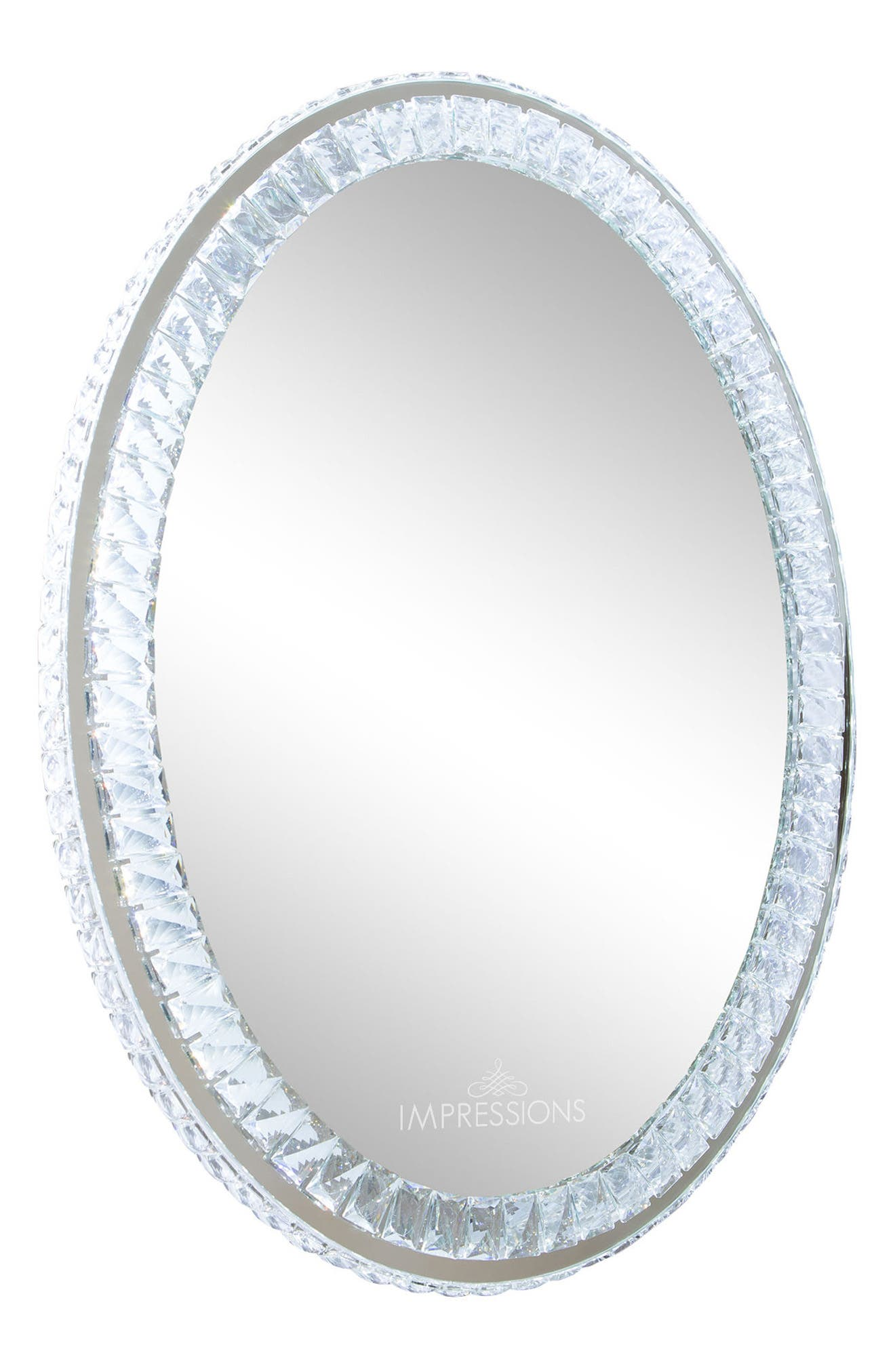 Alternate Image 1 Selected - Impressions Vanity Co. Diamond Collection Oval LED Wall Mirror
