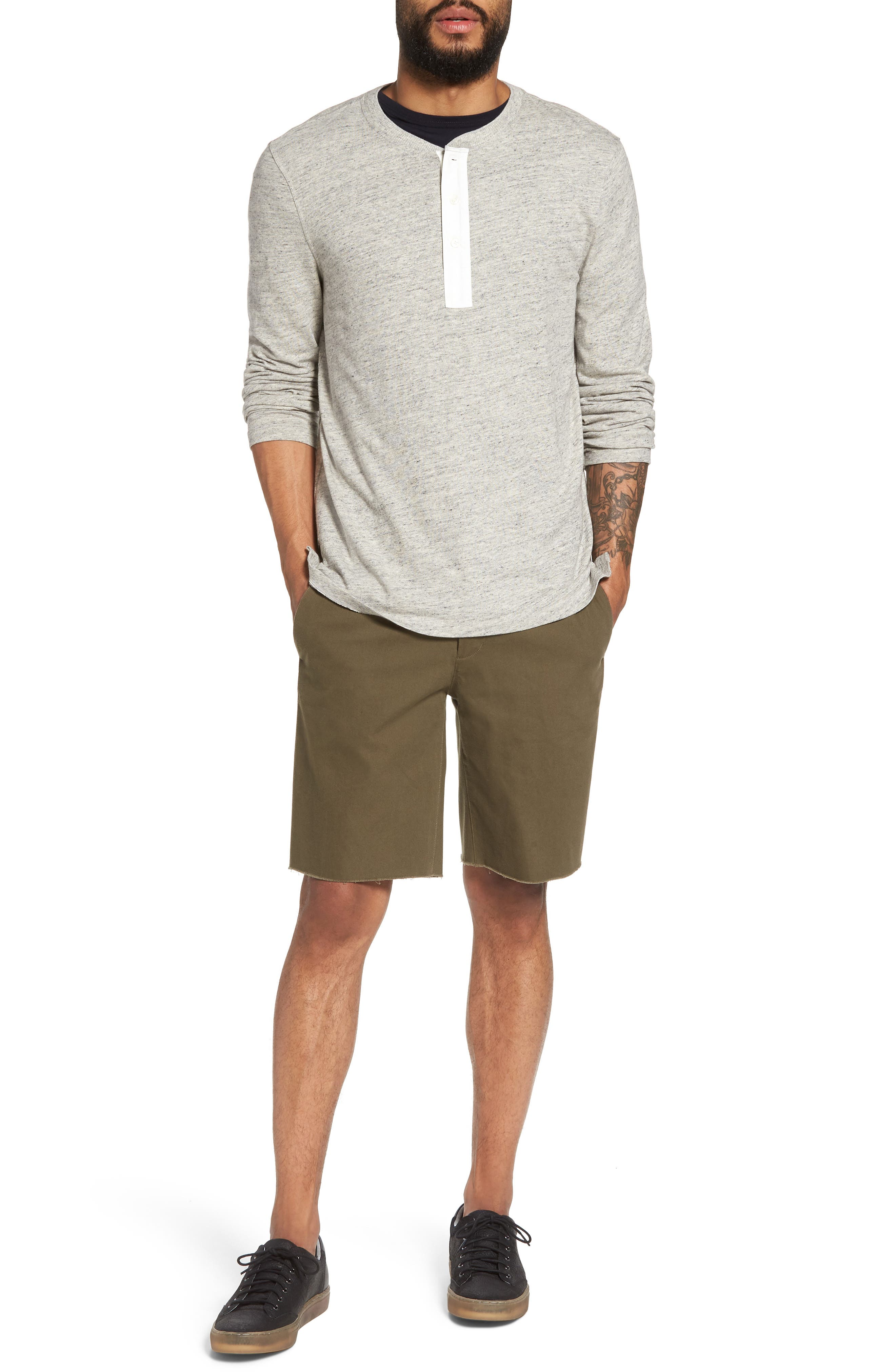 Military Slim Fit Henley,                             Alternate thumbnail 6, color,                             Grey