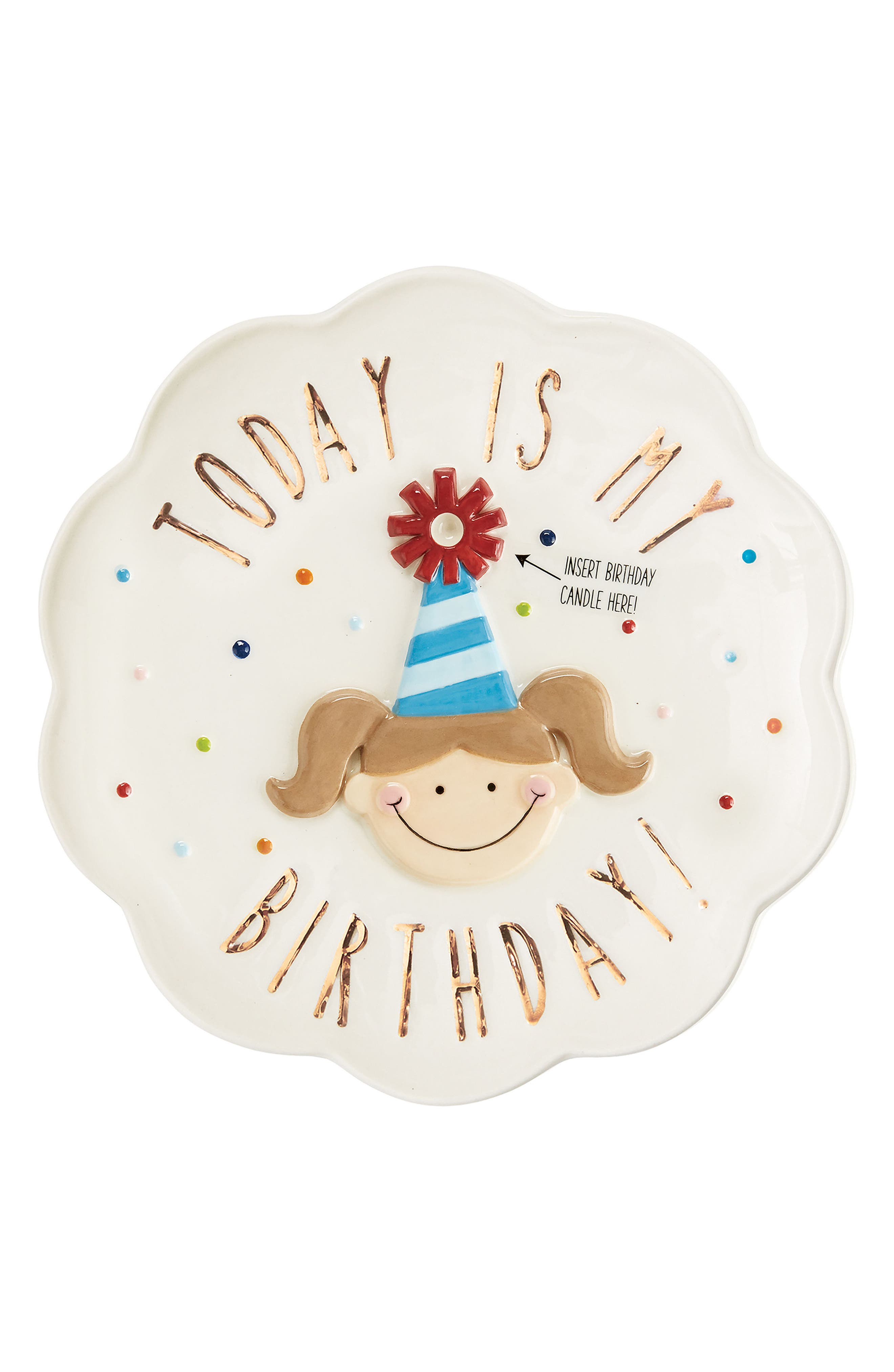 Birthday Girl Candle Plate,                         Main,                         color, White