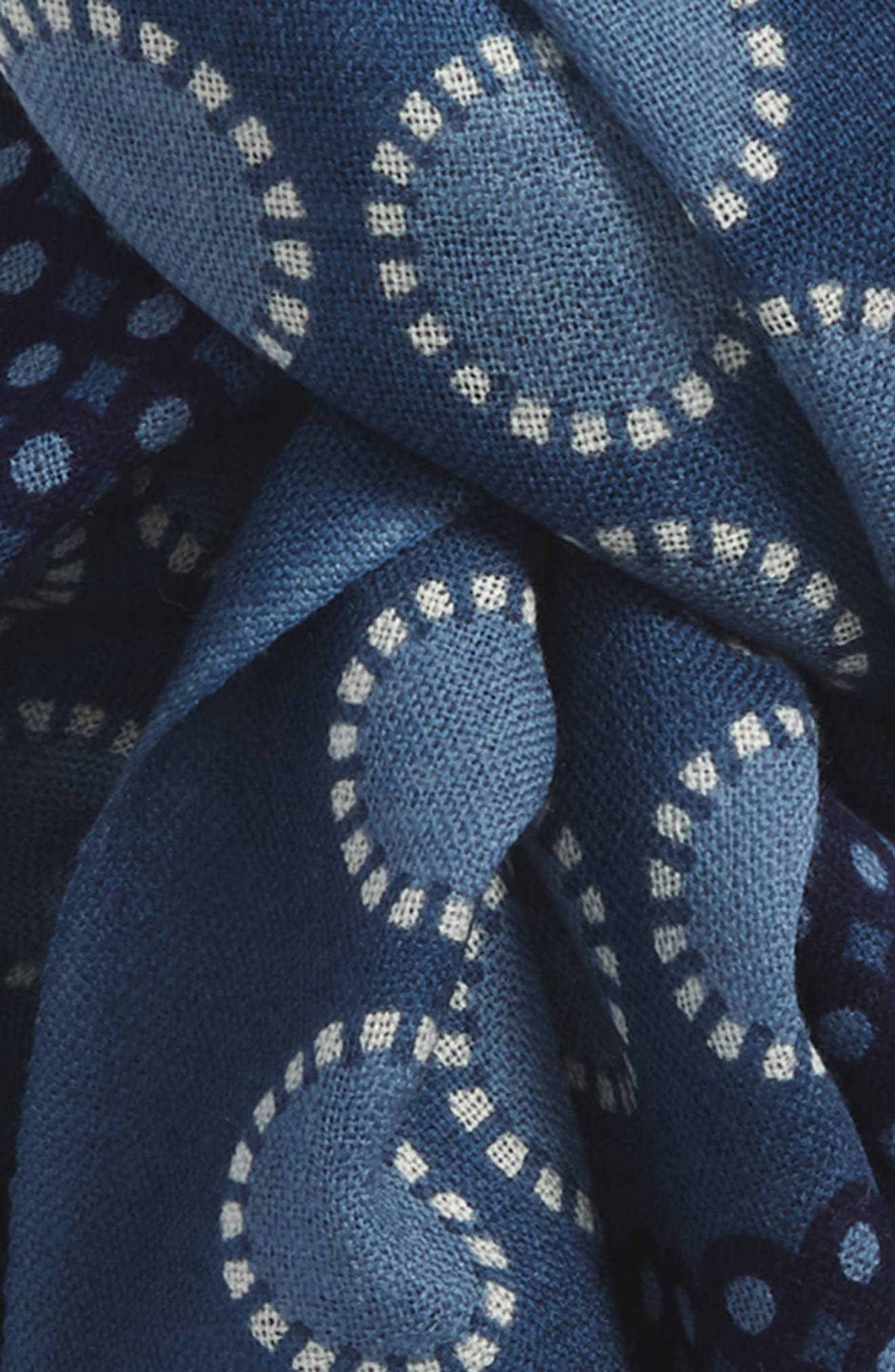 Dot Wool Scarf,                             Alternate thumbnail 3, color,                             Navy Denim