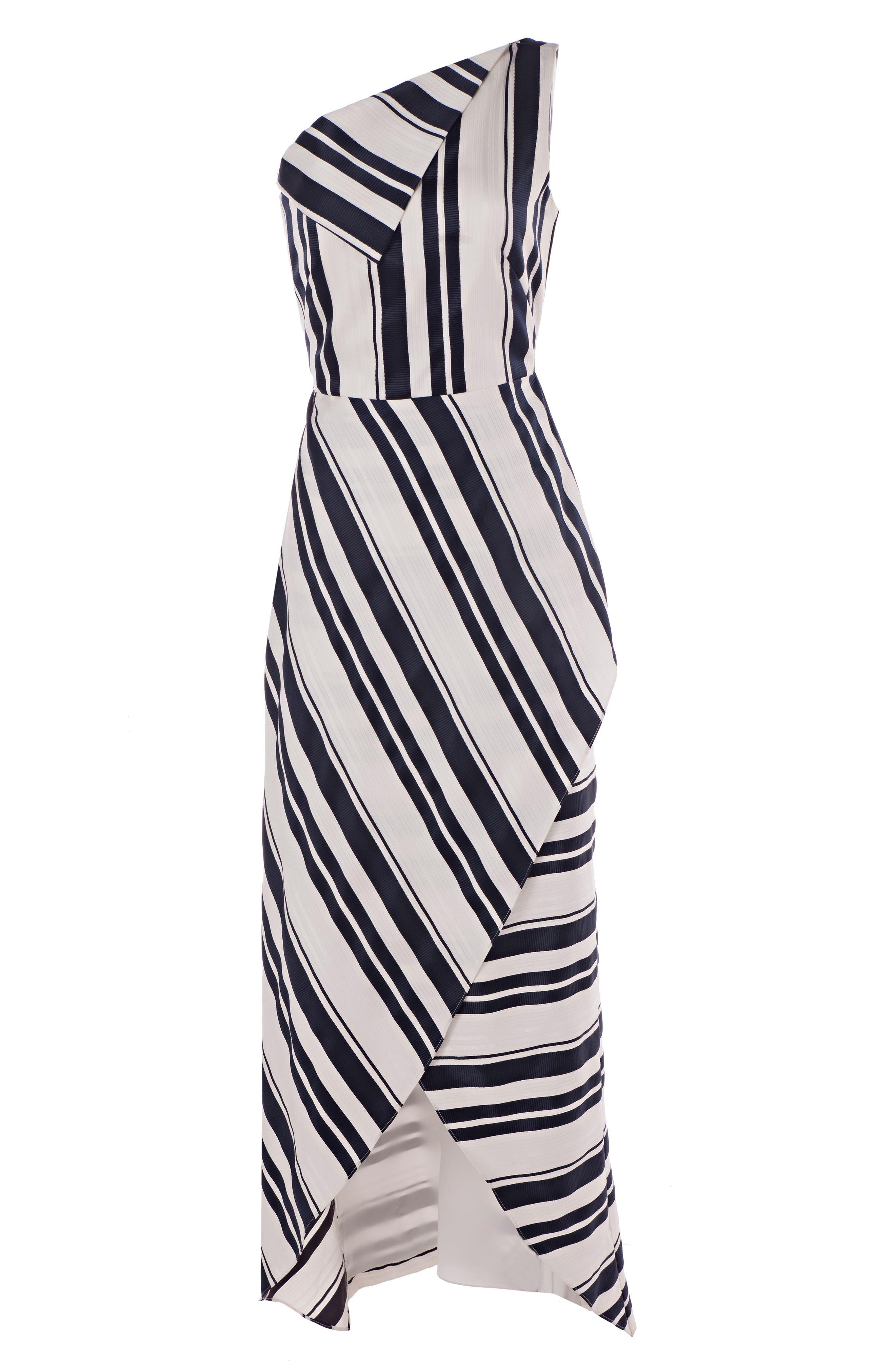 One-Shoulder Cross Front Maxi Dress,                             Alternate thumbnail 3, color,                             Navy/ White