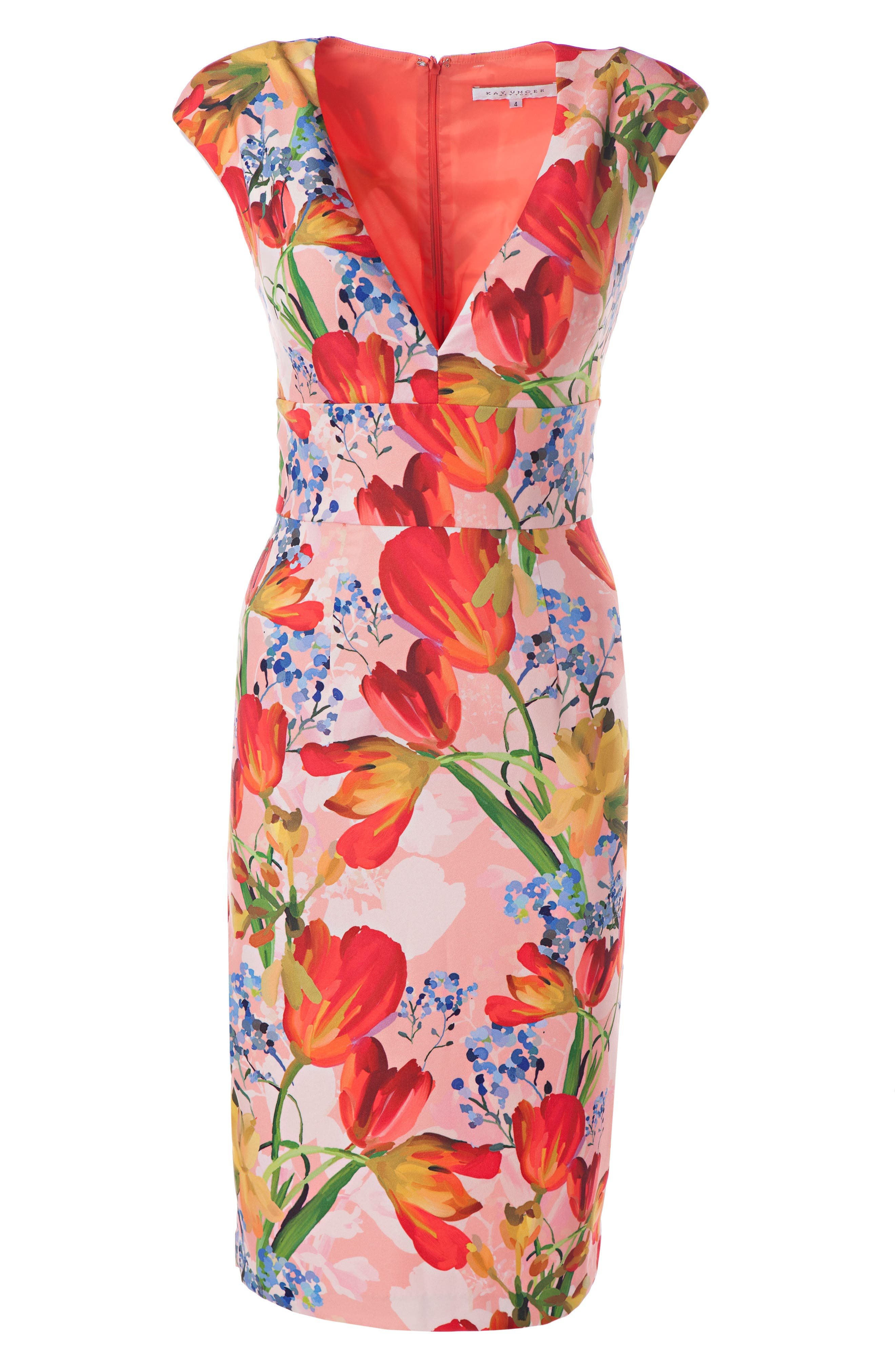 Floral Sheath Dress,                             Alternate thumbnail 3, color,                             Coral