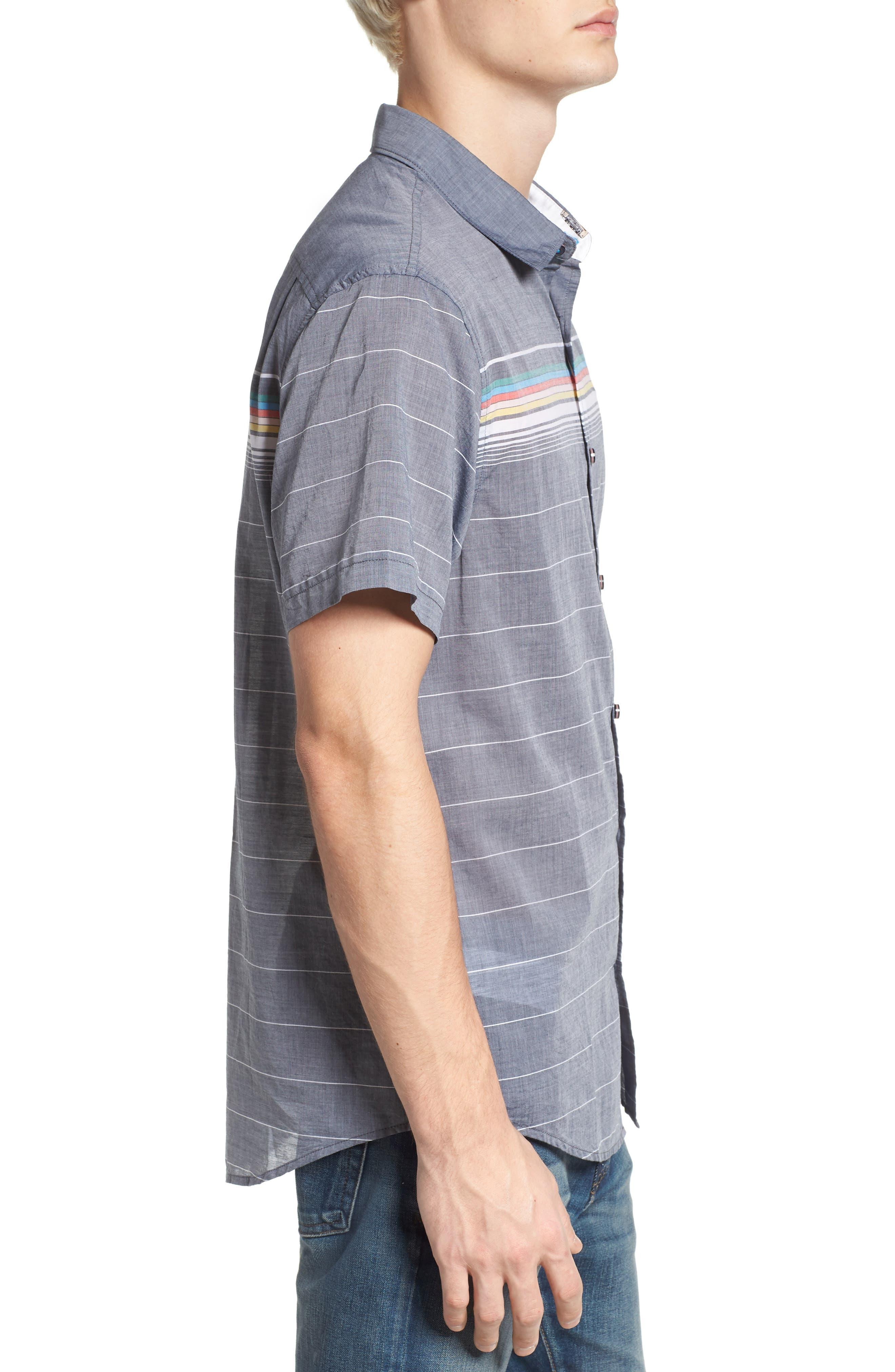 Engineered Stripe Woven Shirt,                             Alternate thumbnail 3, color,                             Dark Sapphire