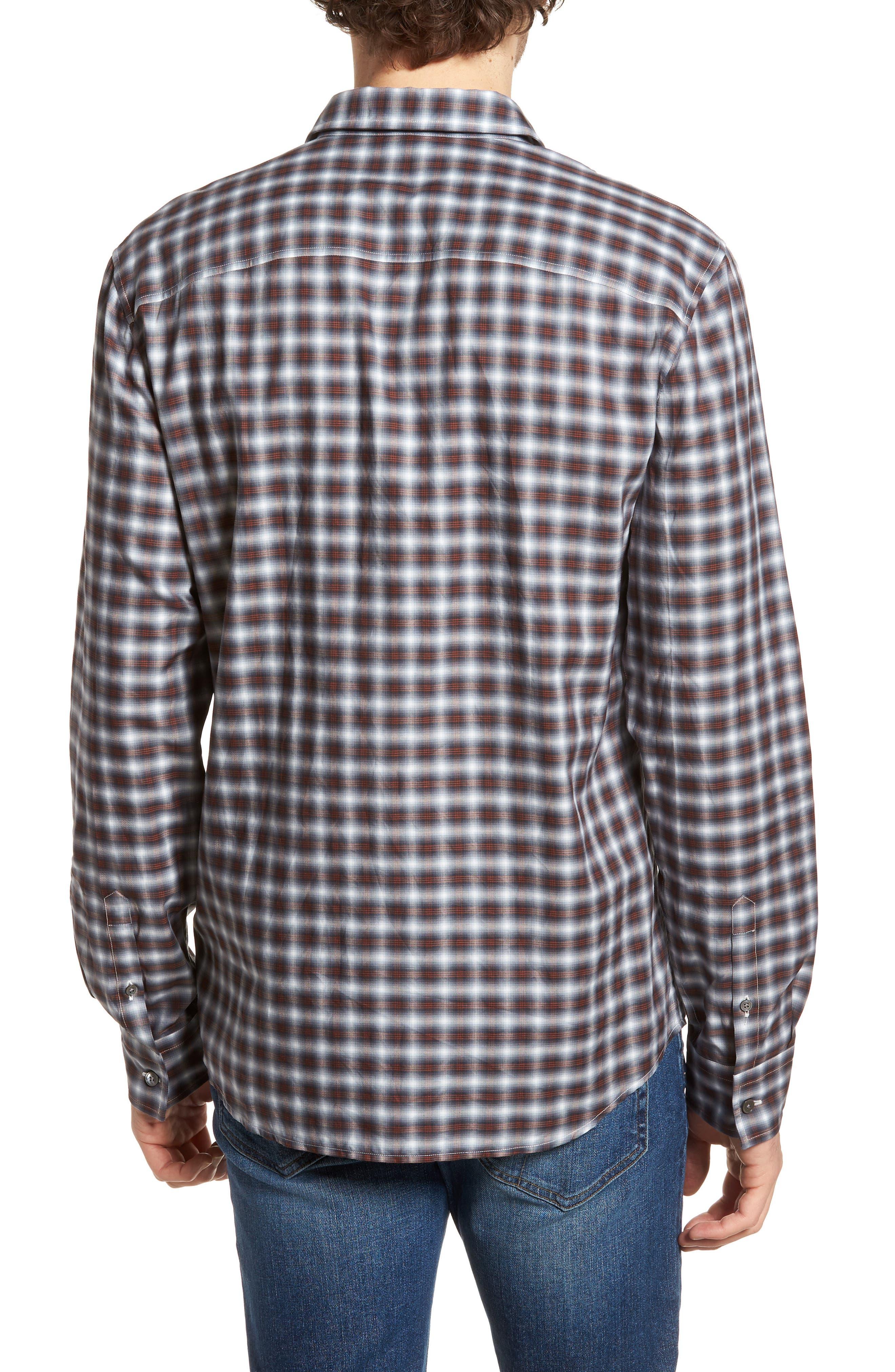 Regular Fit Plaid Sport Shirt,                             Alternate thumbnail 2, color,                             Orange Variation
