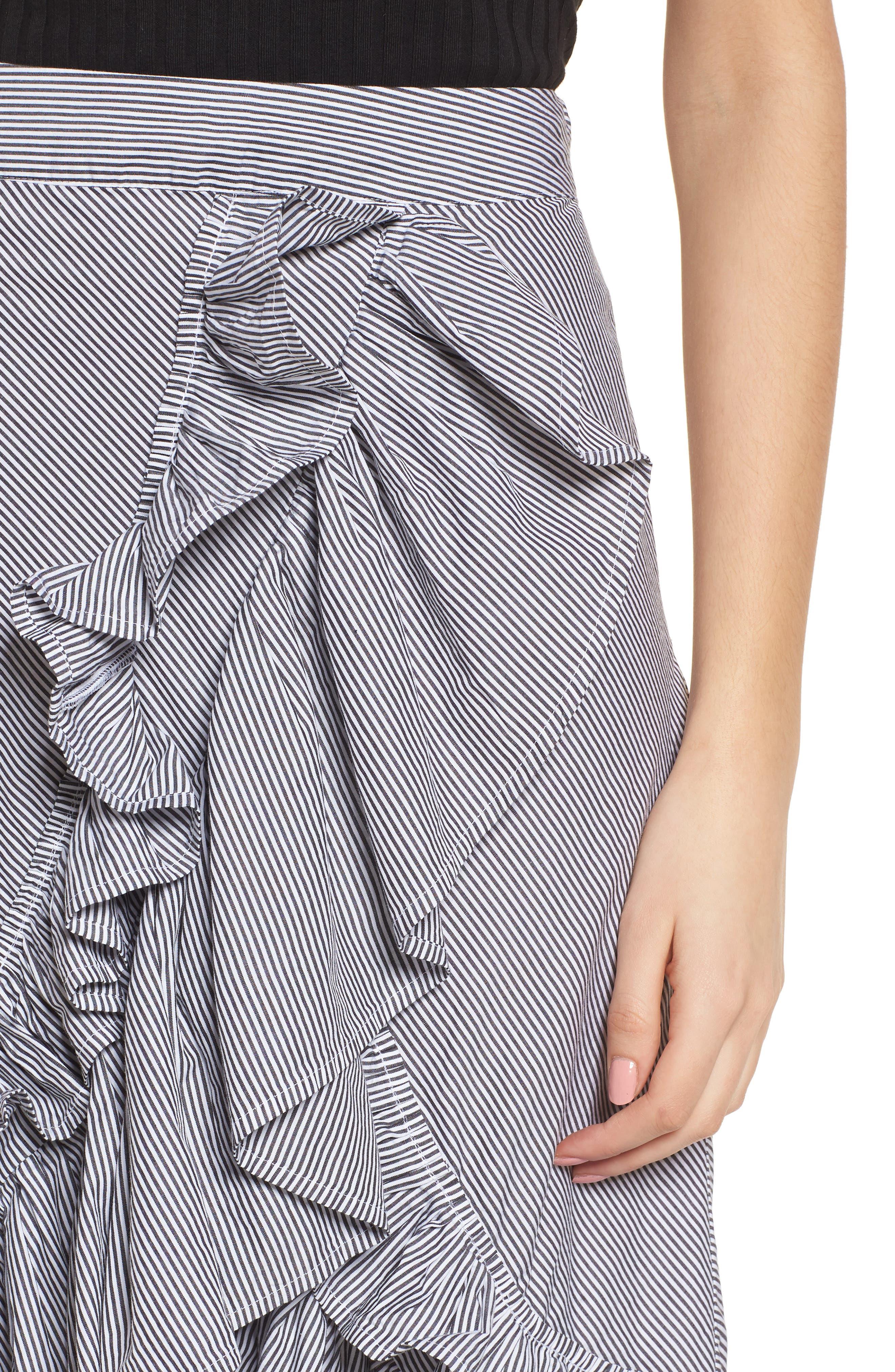 Flounce Ruffle Trim Skirt,                             Alternate thumbnail 5, color,                             Black Jenny Stripe