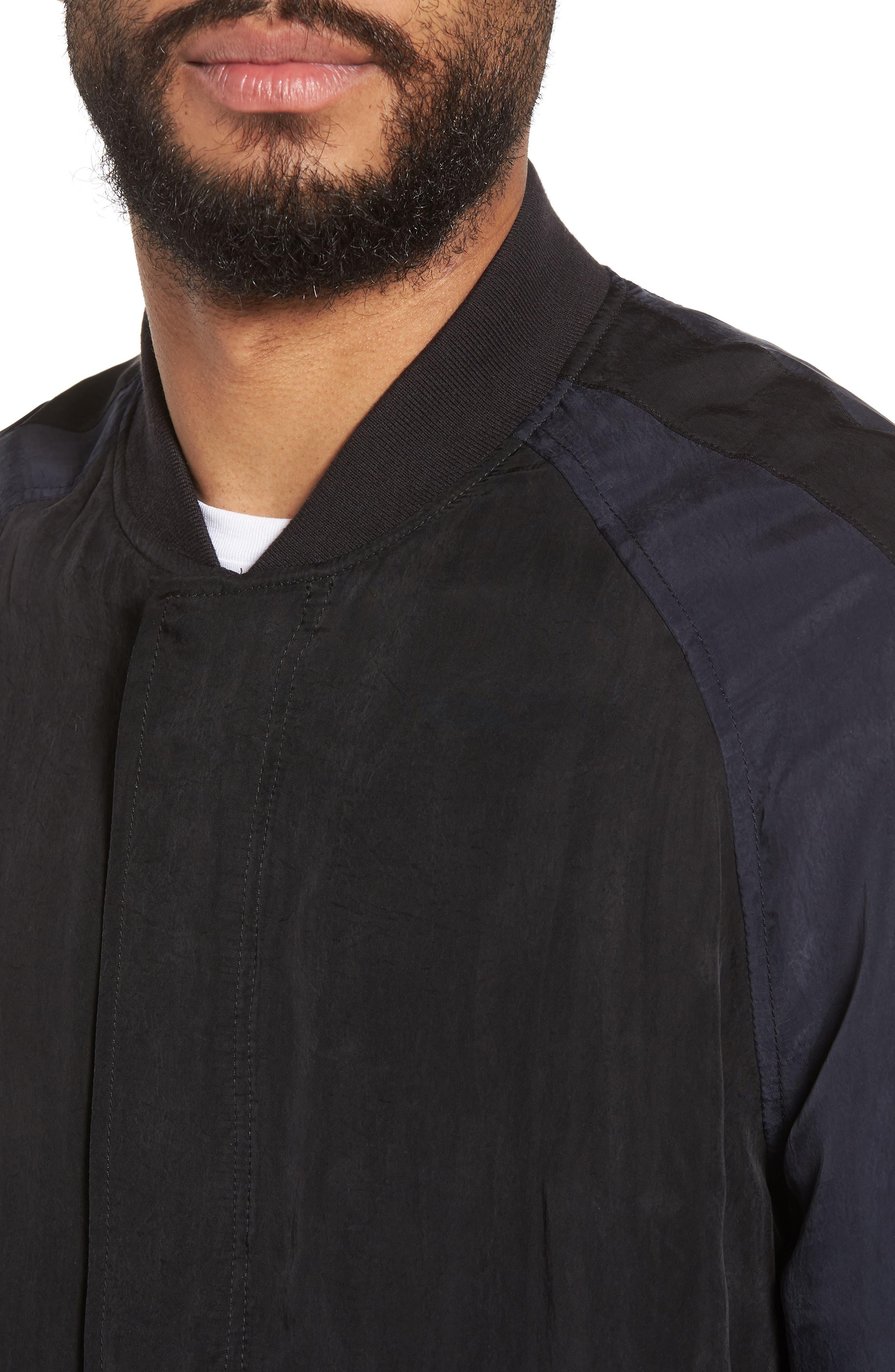 Colorblock Bomber Jacket,                             Alternate thumbnail 4, color,                             Black/ Mechanic Blue