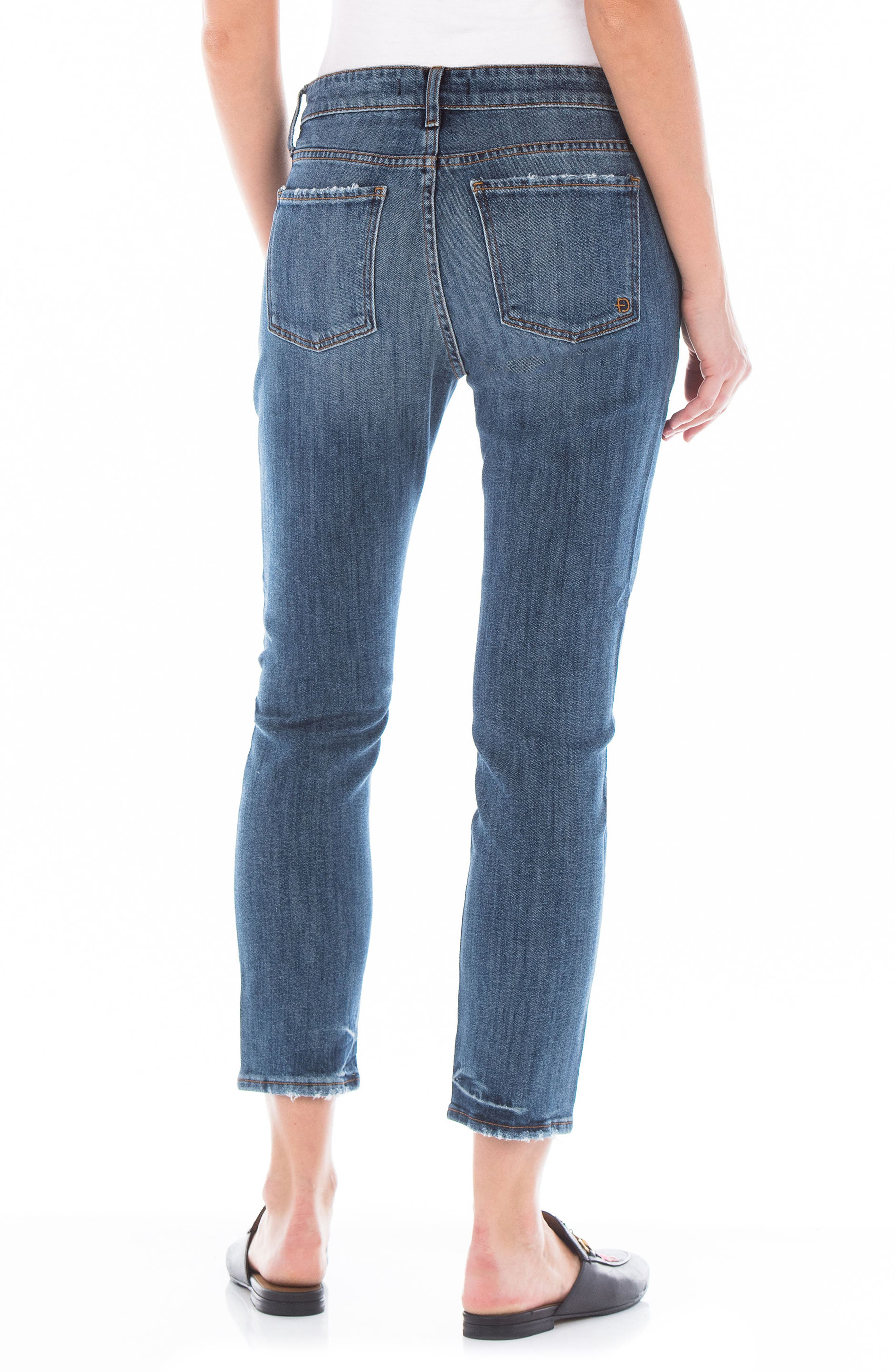 Dee Dee Distressed Crop Jeans,                             Alternate thumbnail 2, color,                             Victorian Blue