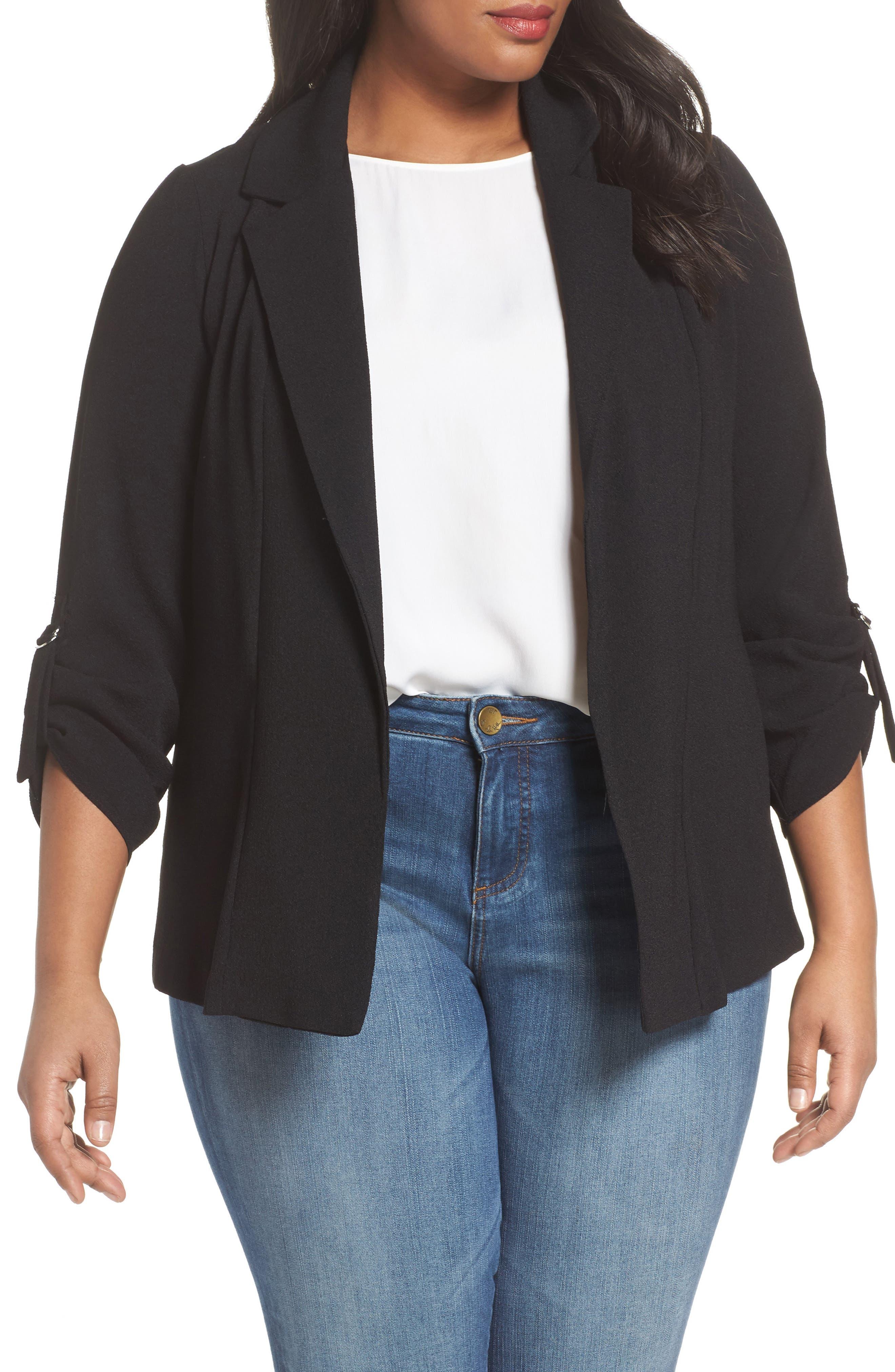 Evans Crepe D-Ring Jacket (Plus Size)